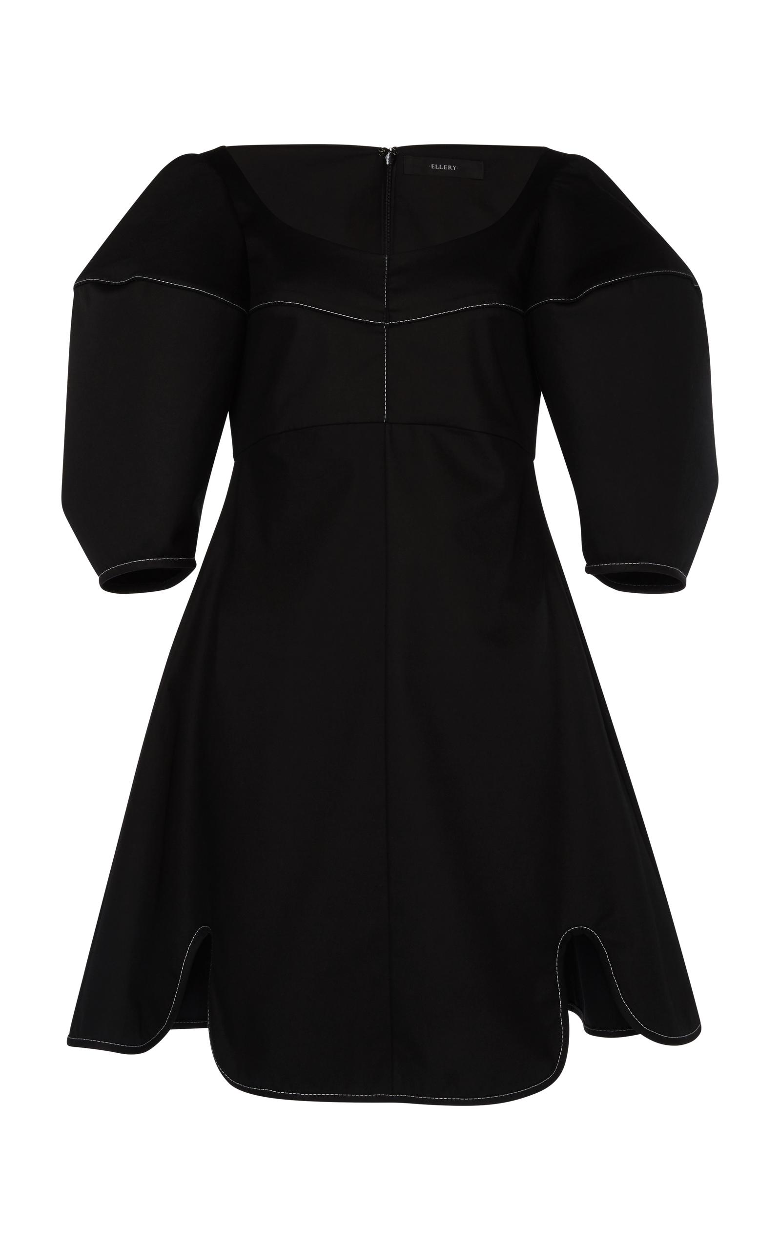 Utopian Contrast-Stitch Cotton-Twill Mini Dress, Black/White