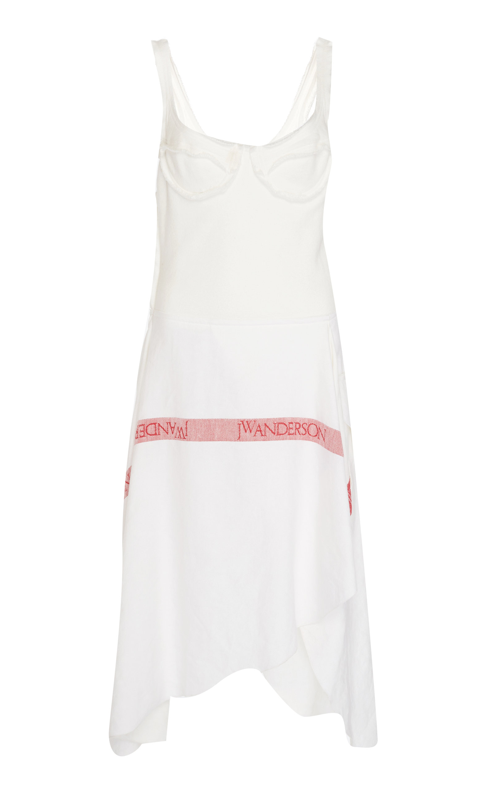 Tea Towel Asymmetric Woven Cotton-Jersey And Linen Dress in White