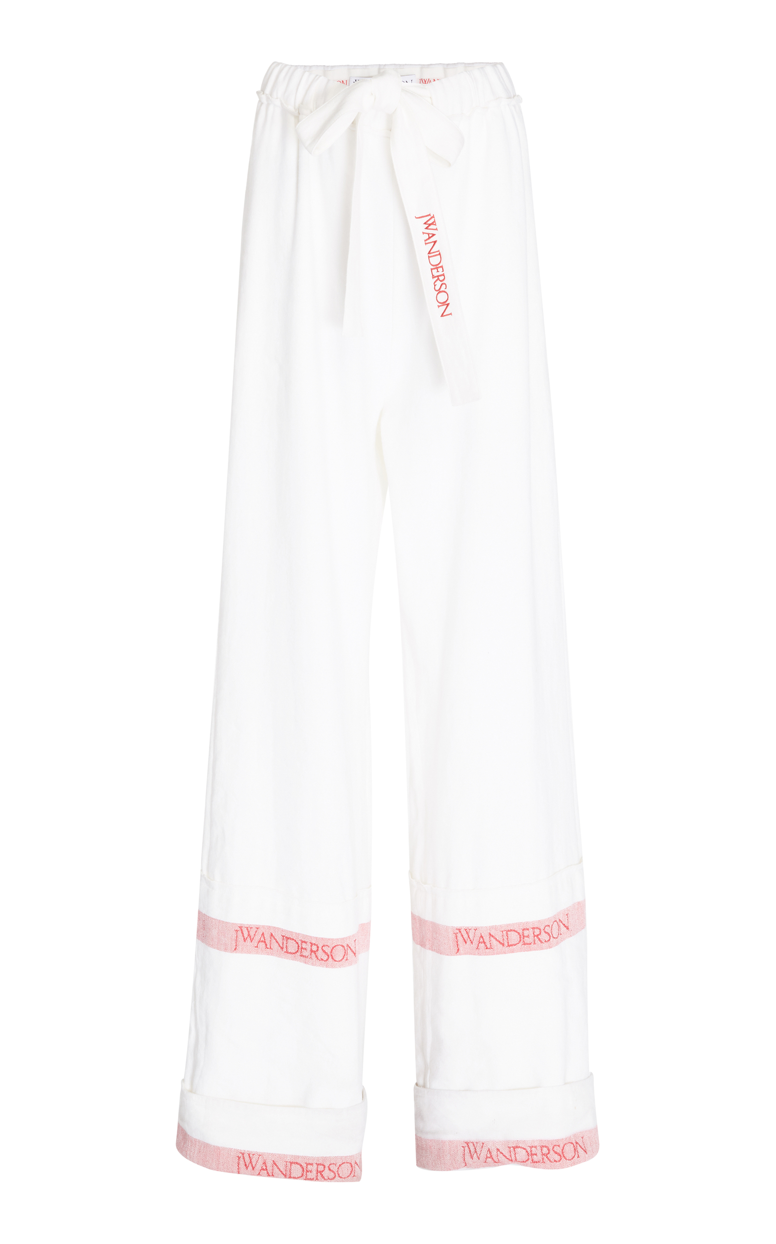 Jw Anderson - Wide Leg Linen Trousers - Womens - White