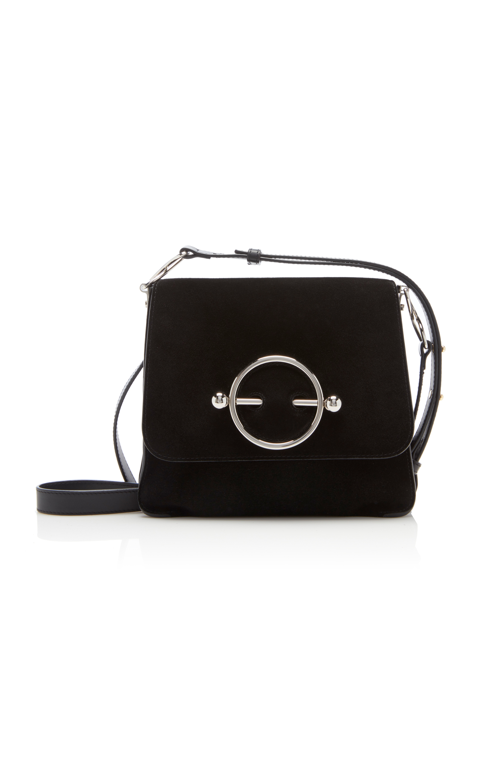 Disc Suede And Leather Shoulder Bag, Size Os, Women, Black