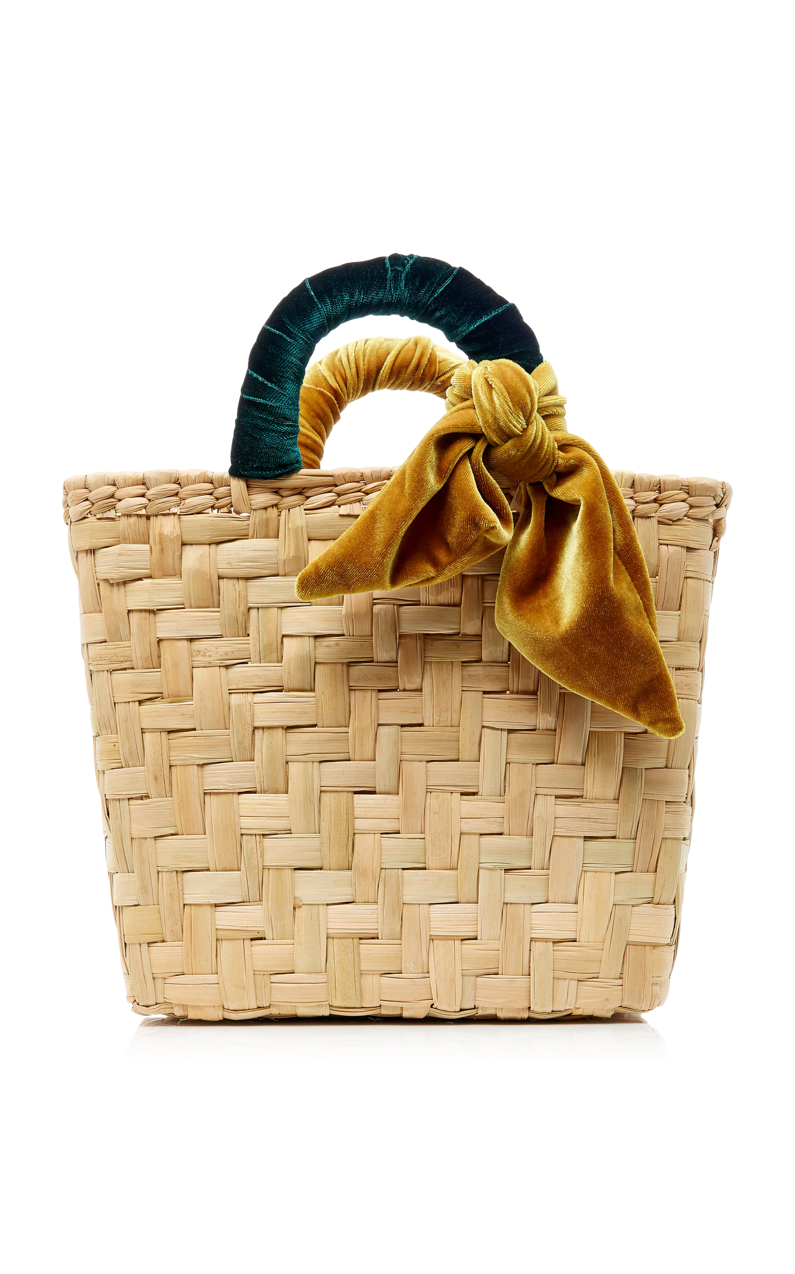 Donni. MO Exclusive Donni Straw and Velvet Large Basket Bag IFauWwY