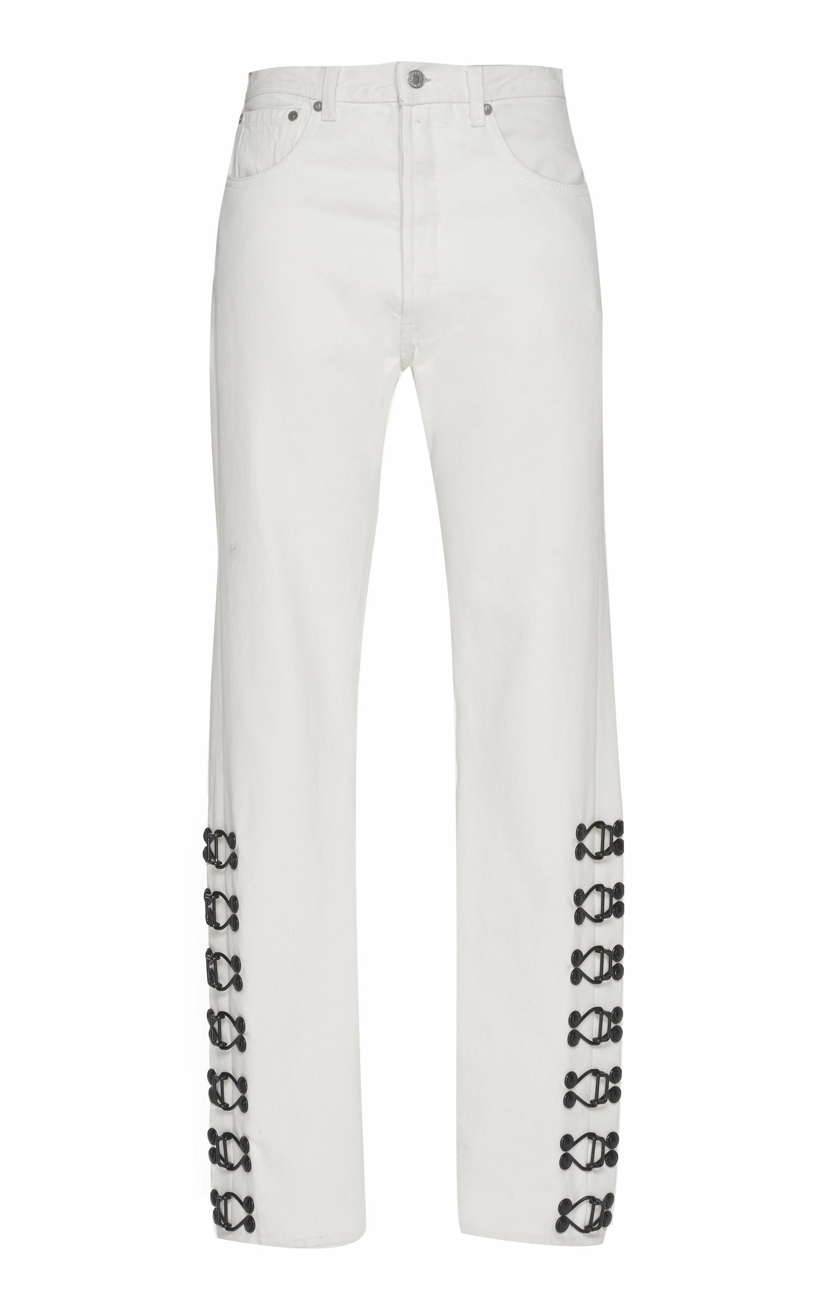 OLIVIER THEYSKENS mid rise hook-and-eye embellished jeans