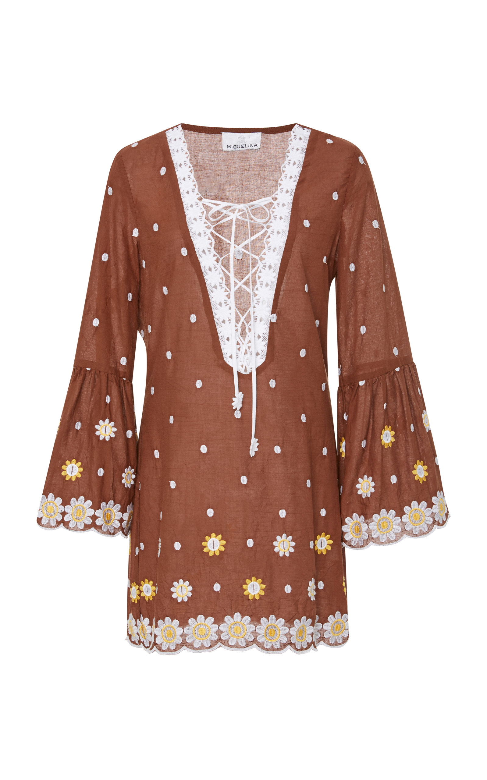 Lace-Up Embroidered Cotton MIni Dress Miguelina Outlet Genuine SUwANF9WlH