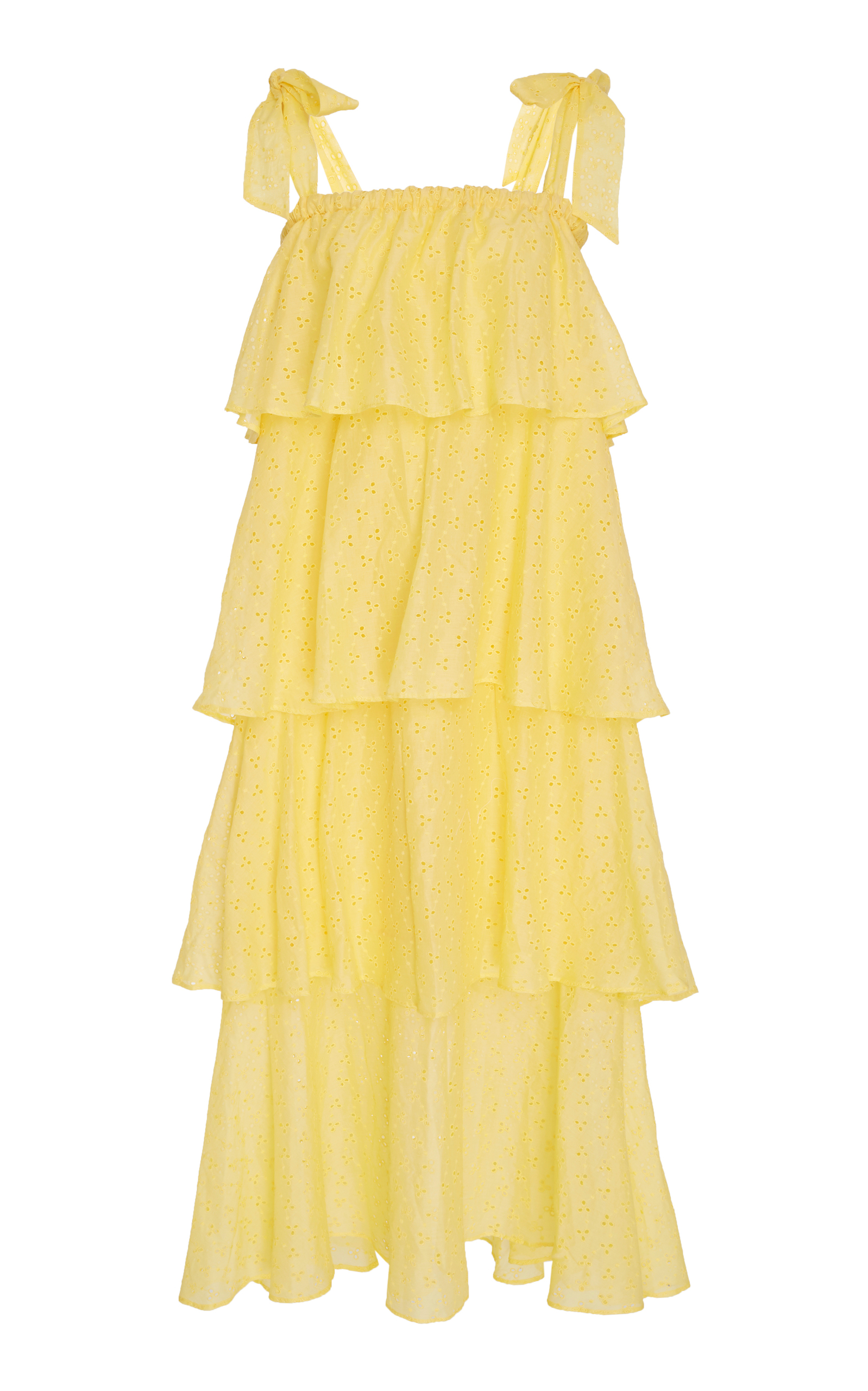 MDS STRIPES Tiered Ruffle Cami Dress in Yellow