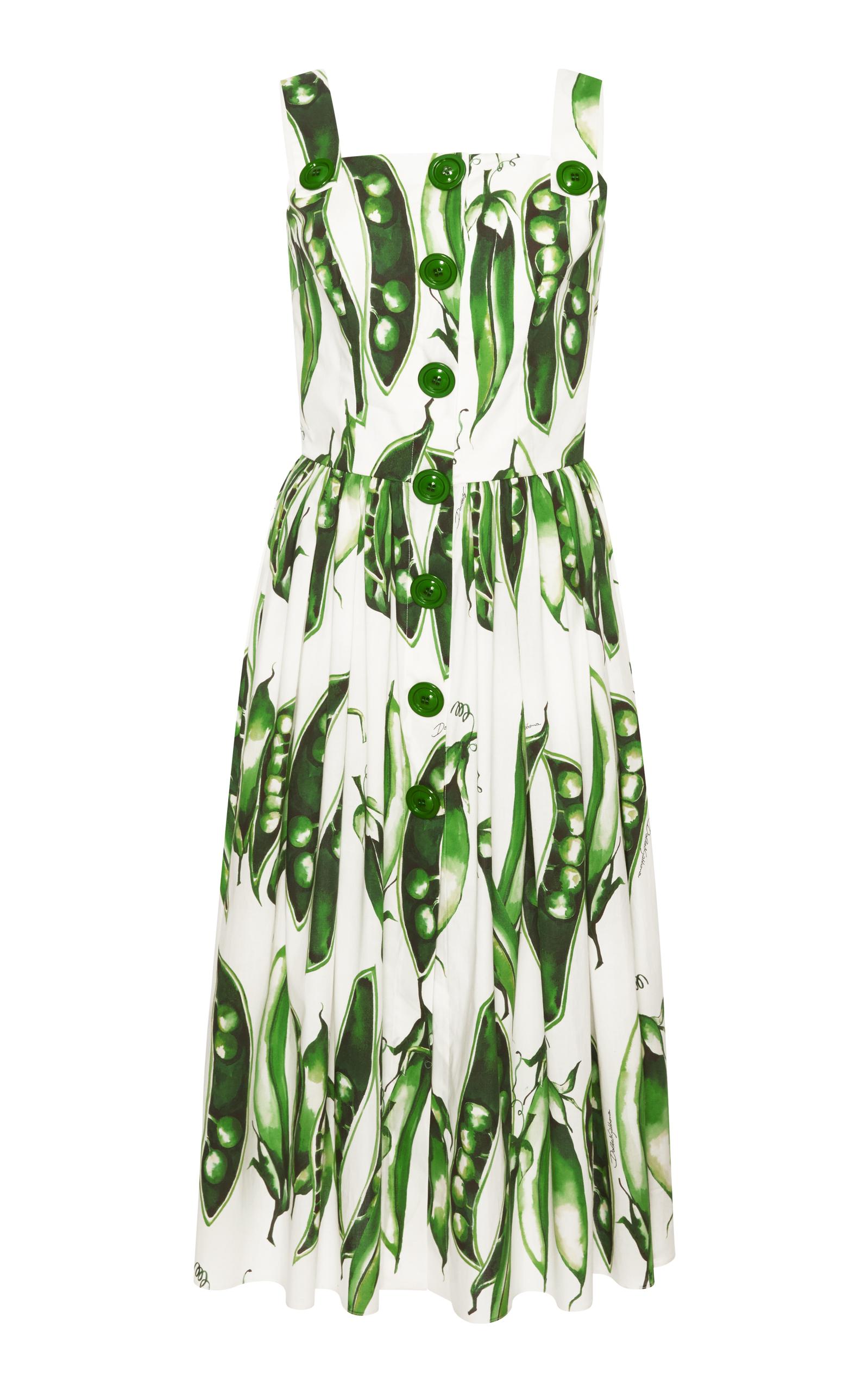 Dolce Gabbana Sleeveless On Front Pea Print Cotton Poplin Midi Day Dress In