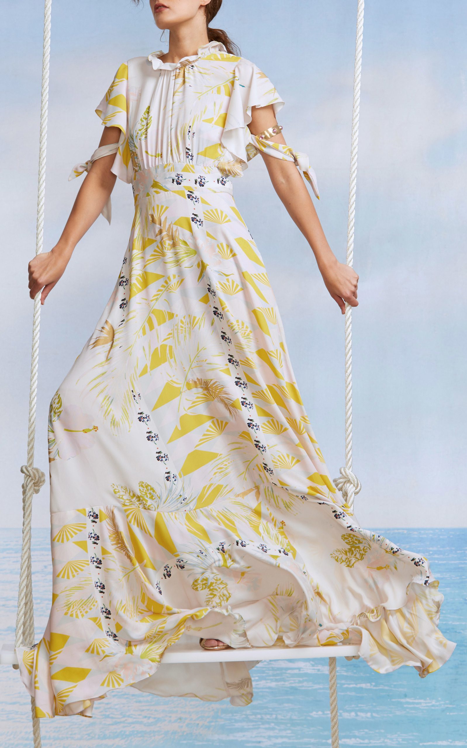 47d5c30a550c62 Cynthia RowleyTalia Printed Silk Tie Sleeve Dress. CLOSE. Loading