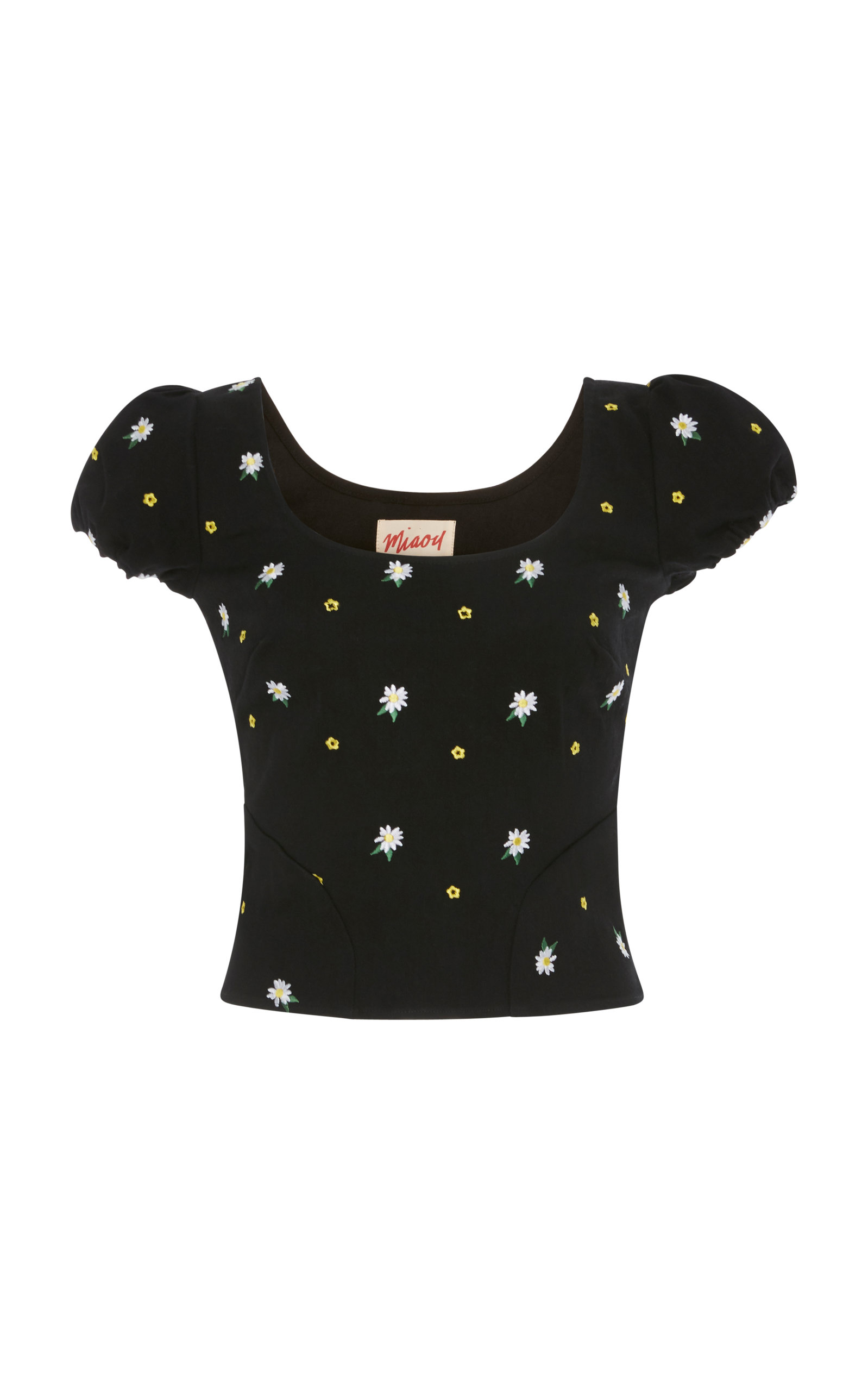 Miaou KELLY CAP SLEEVE EMBROIDERED STRETCH COTTON TOP