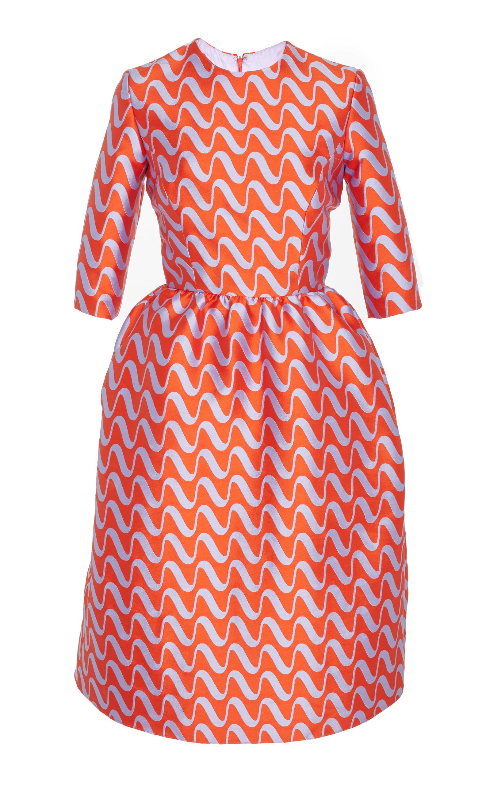 REEM ACRA Wave Print Cocktail Dress, Orange   ModeSens