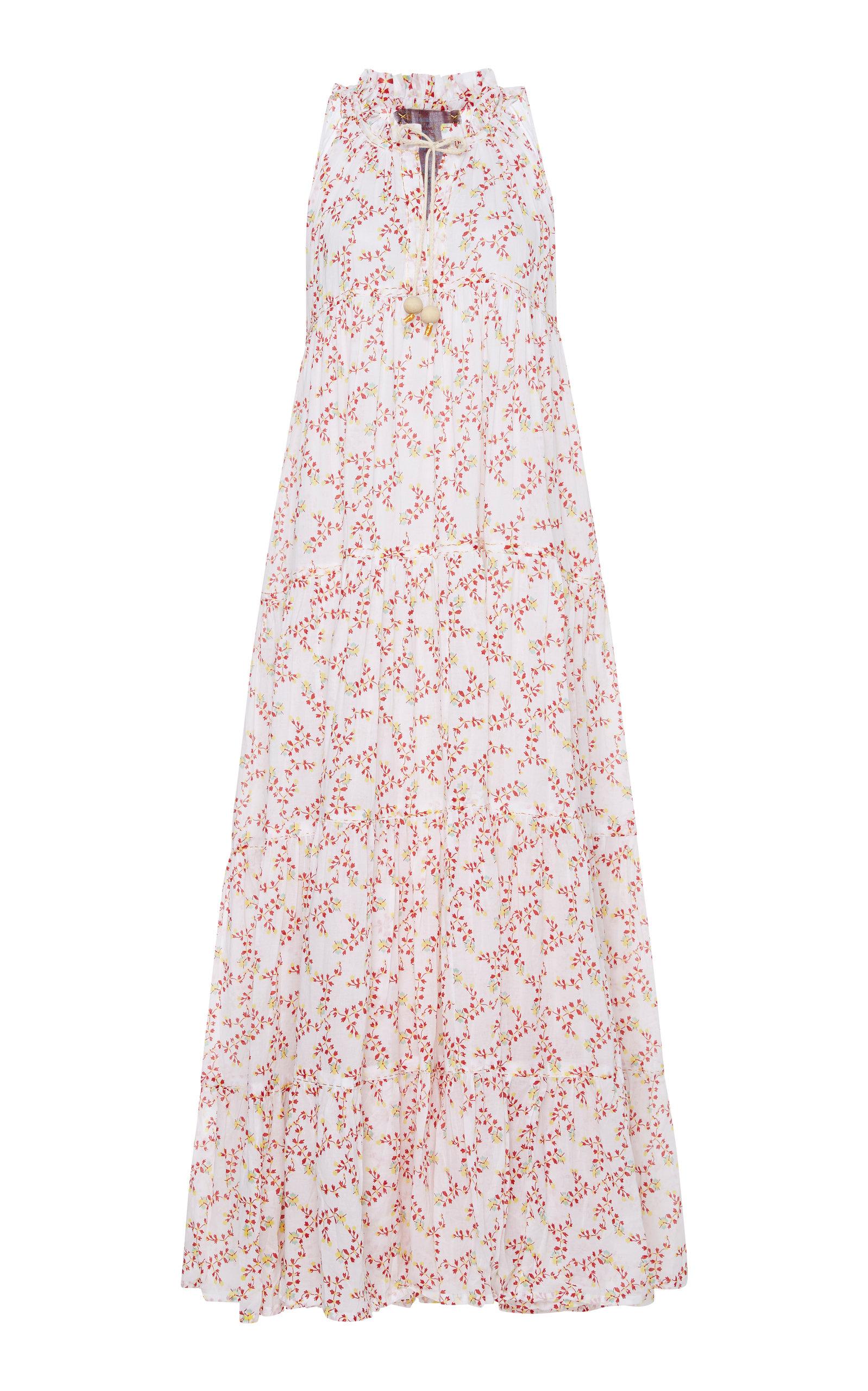 YVONNE S COTTON VOILE FLORAL-PRINT MAXI DRESS