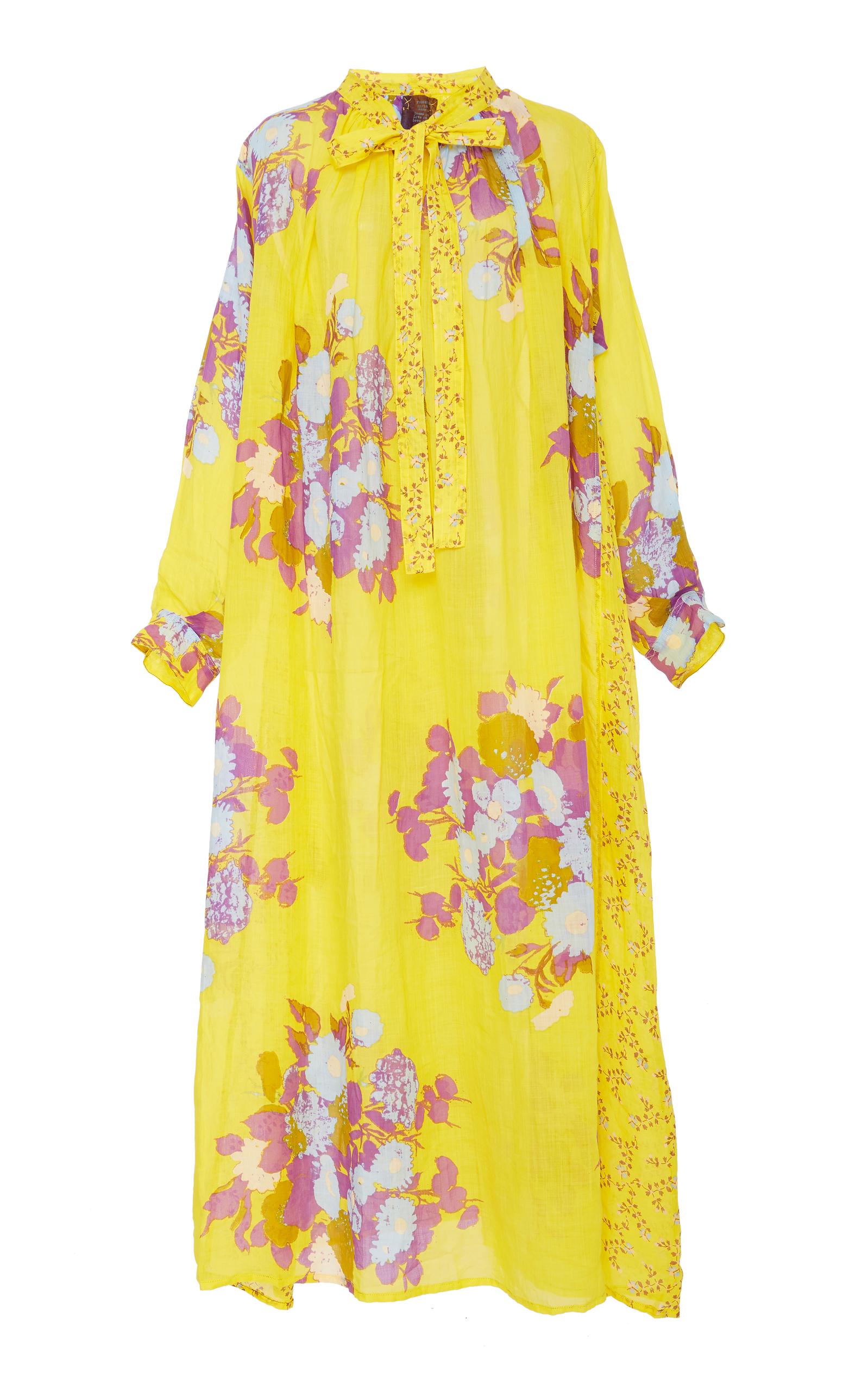 YVONNE S FLORAL-PRINT LINEN MAXI DRESS