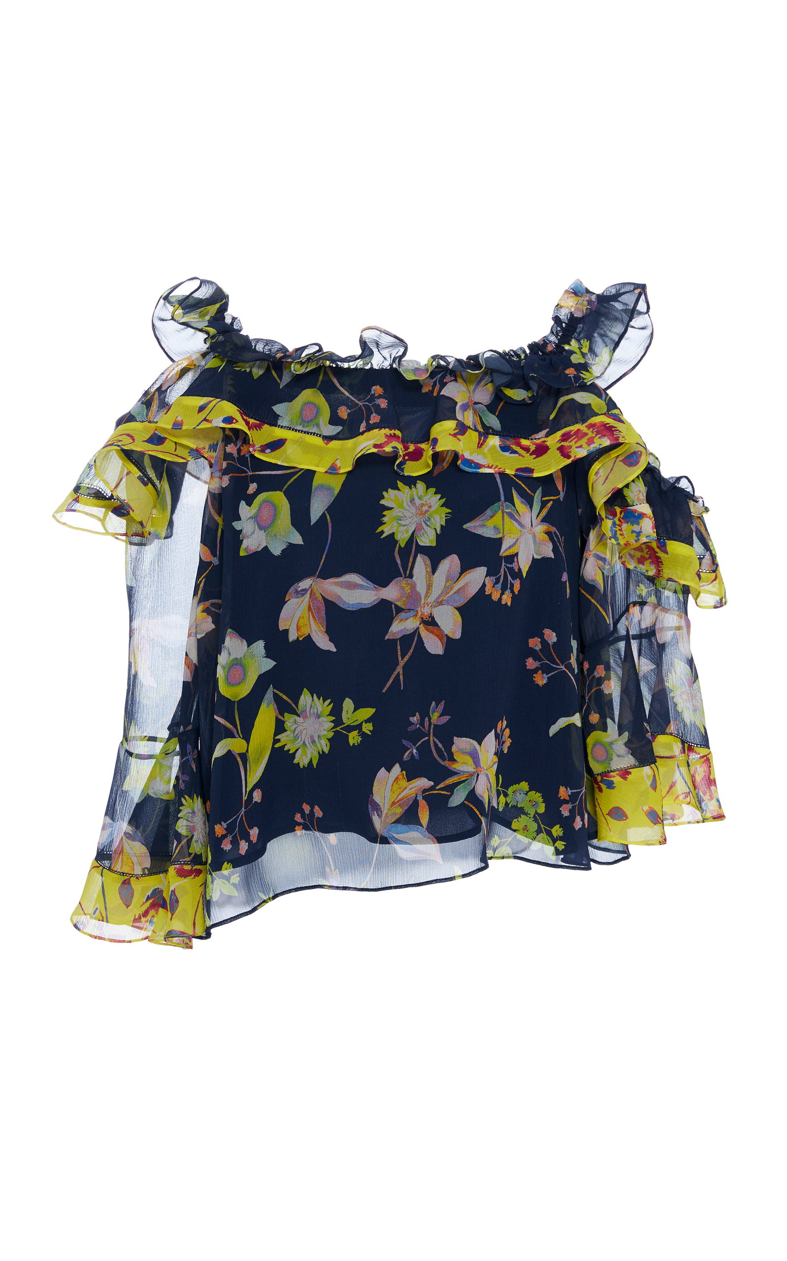Violet Garden-Print Off-The-Shoulder Silk Top in Blue