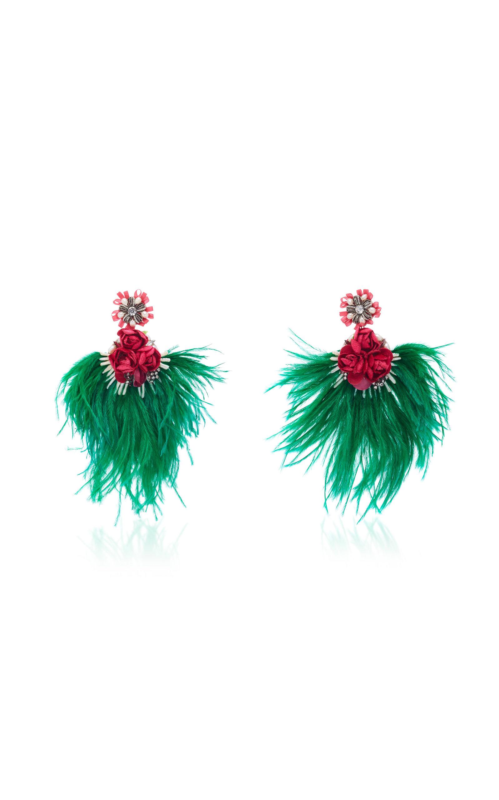 RANJANA KHAN Embellished Feather Drop Earrings in Multi