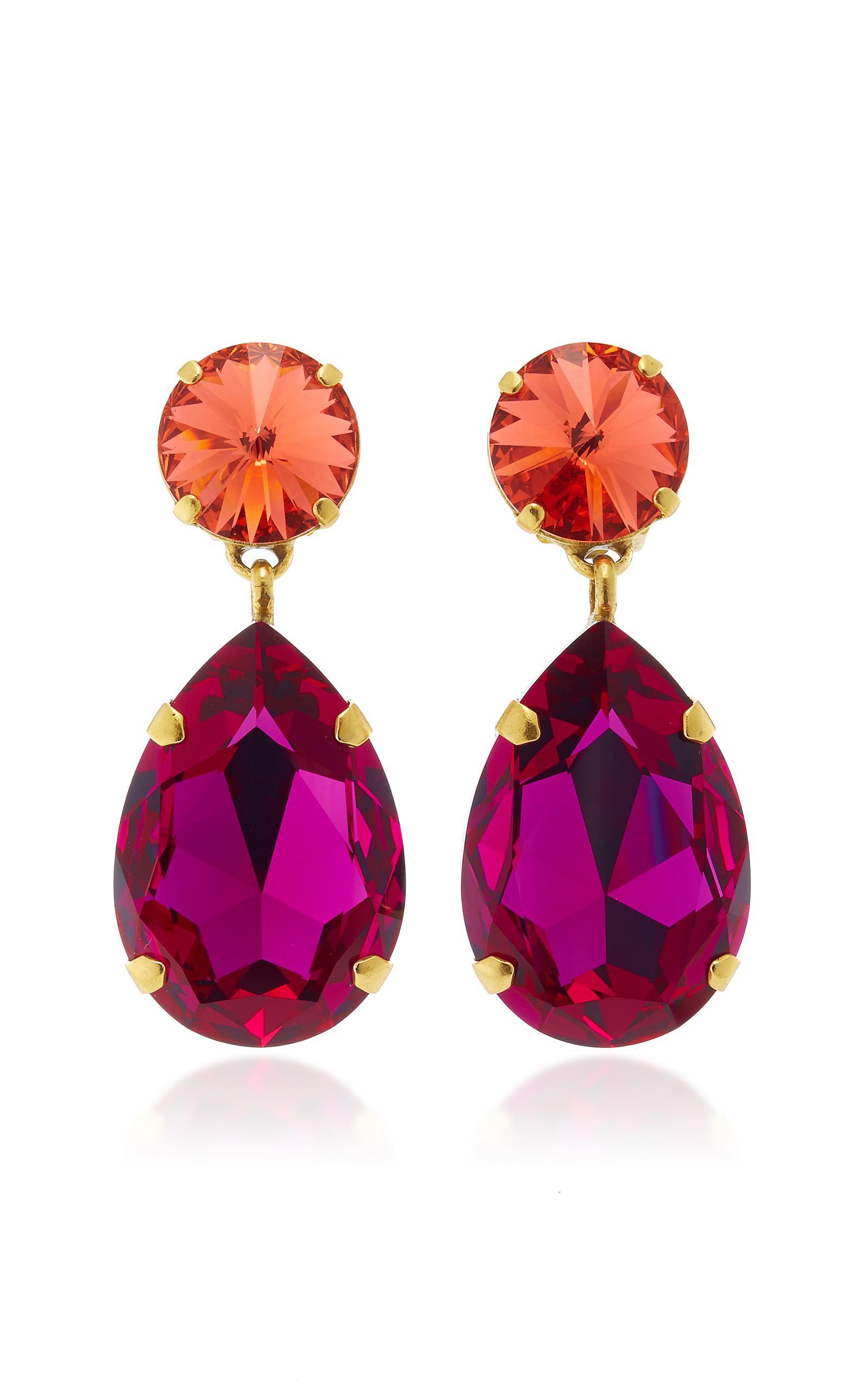 Hip-hop But Not Gold-tone Swarovski Crystal Clip Earrings - Pink Roxanne Assoulin v5kObvvta
