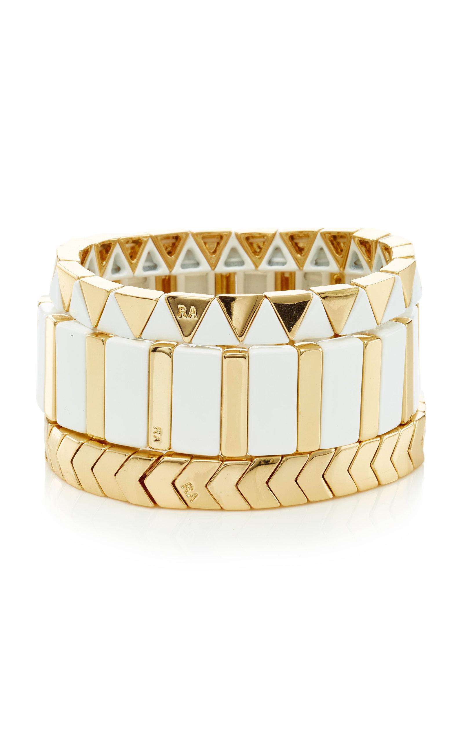 Set-Of-Three The Mixers Chevron Gold Bracelets Roxanne Assoulin UQGCCVh
