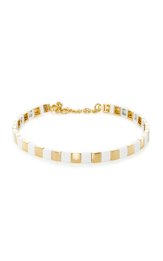 Roxanne Assoulin Put It In Neutral Enamel Swarovski Crystal and Gold-Tone Choker