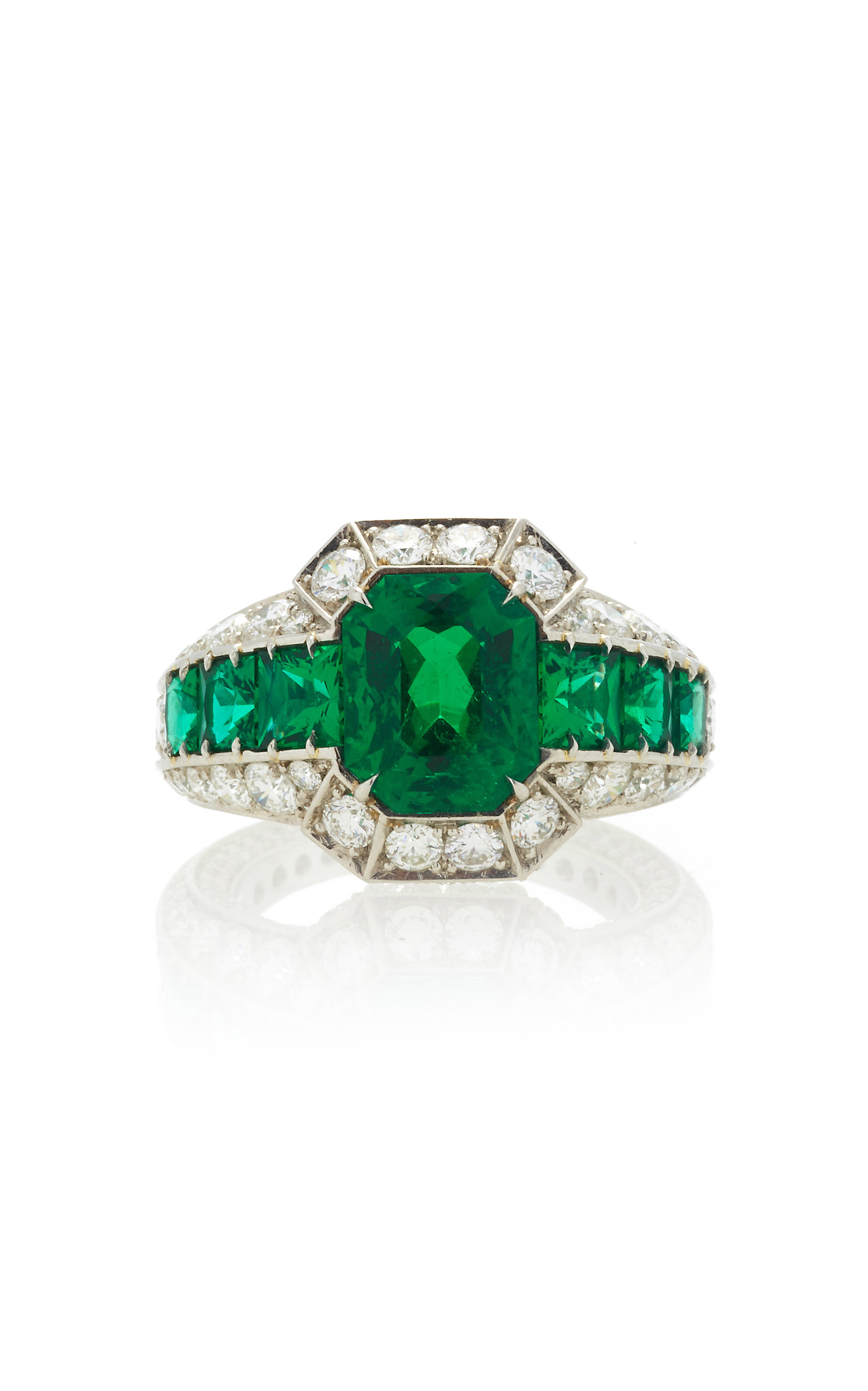 trillions products octagonal and diamonds diamond emerald copy af kind of one platinum with jewelers unique ring a