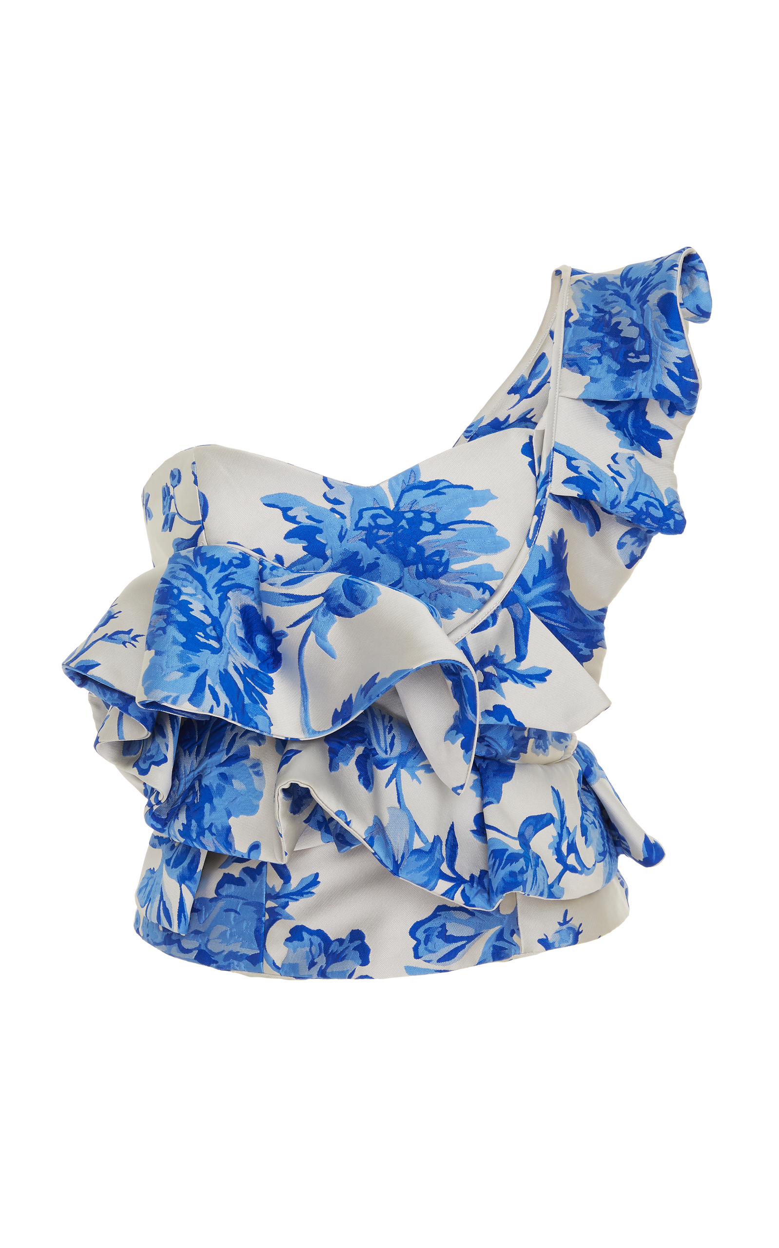 MESTIZA KATALINA FLORAL RUFFLE ONE-SHOULDER TOP