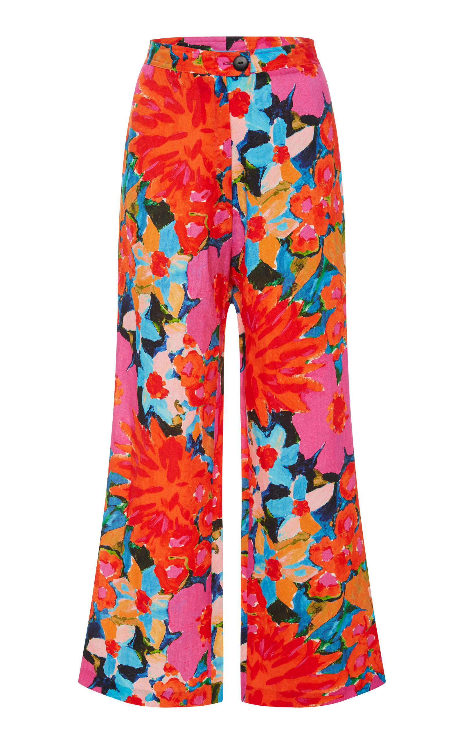 Arlene Floral-Print Tencel And Linen-Blend Flared Pants in Pink