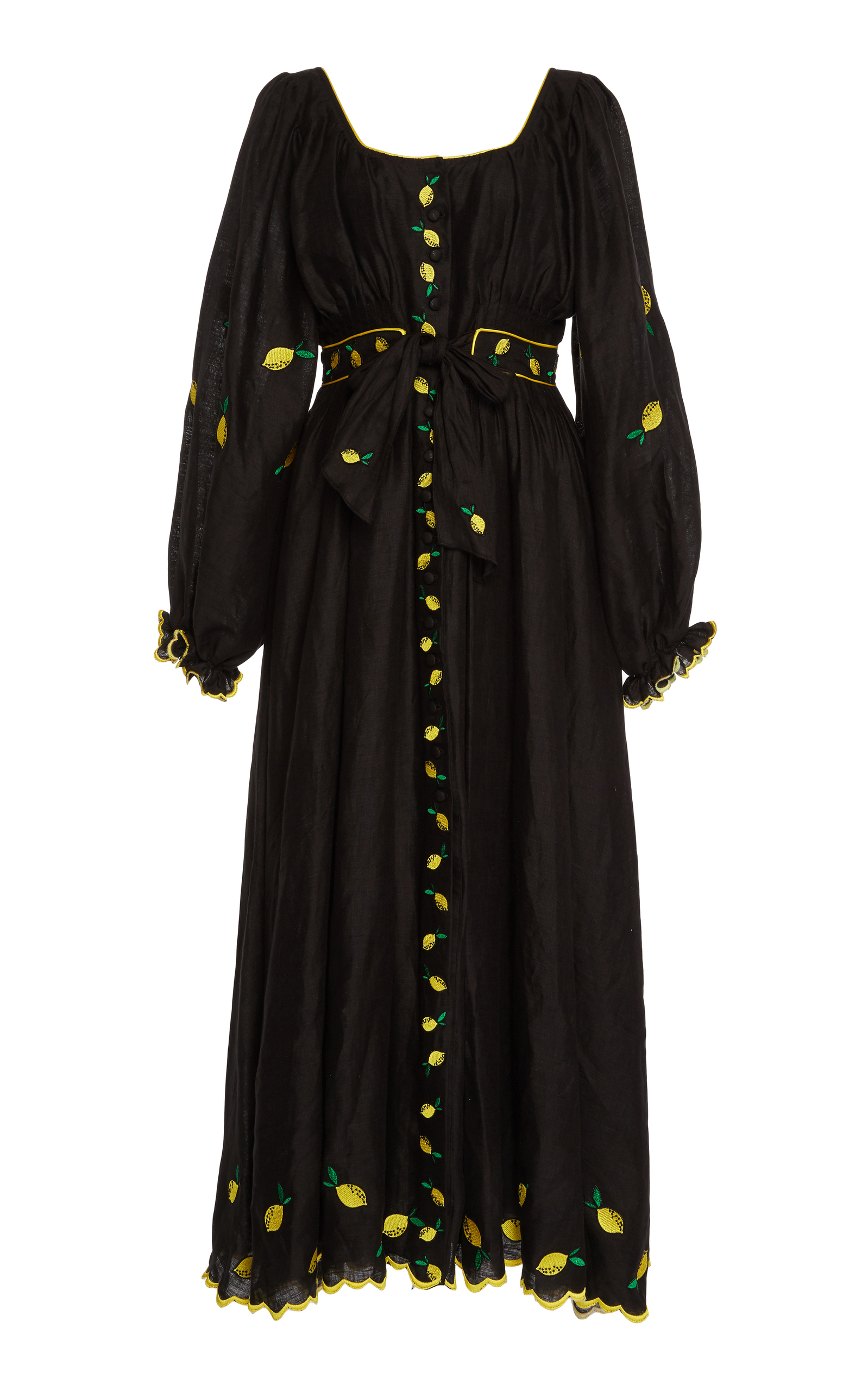 Black Lemon Embroidered Puff Sleeved Linen Dress