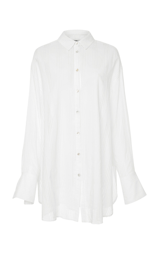 BECKEN | Becken Striped Oversized Voile Button Down | Goxip
