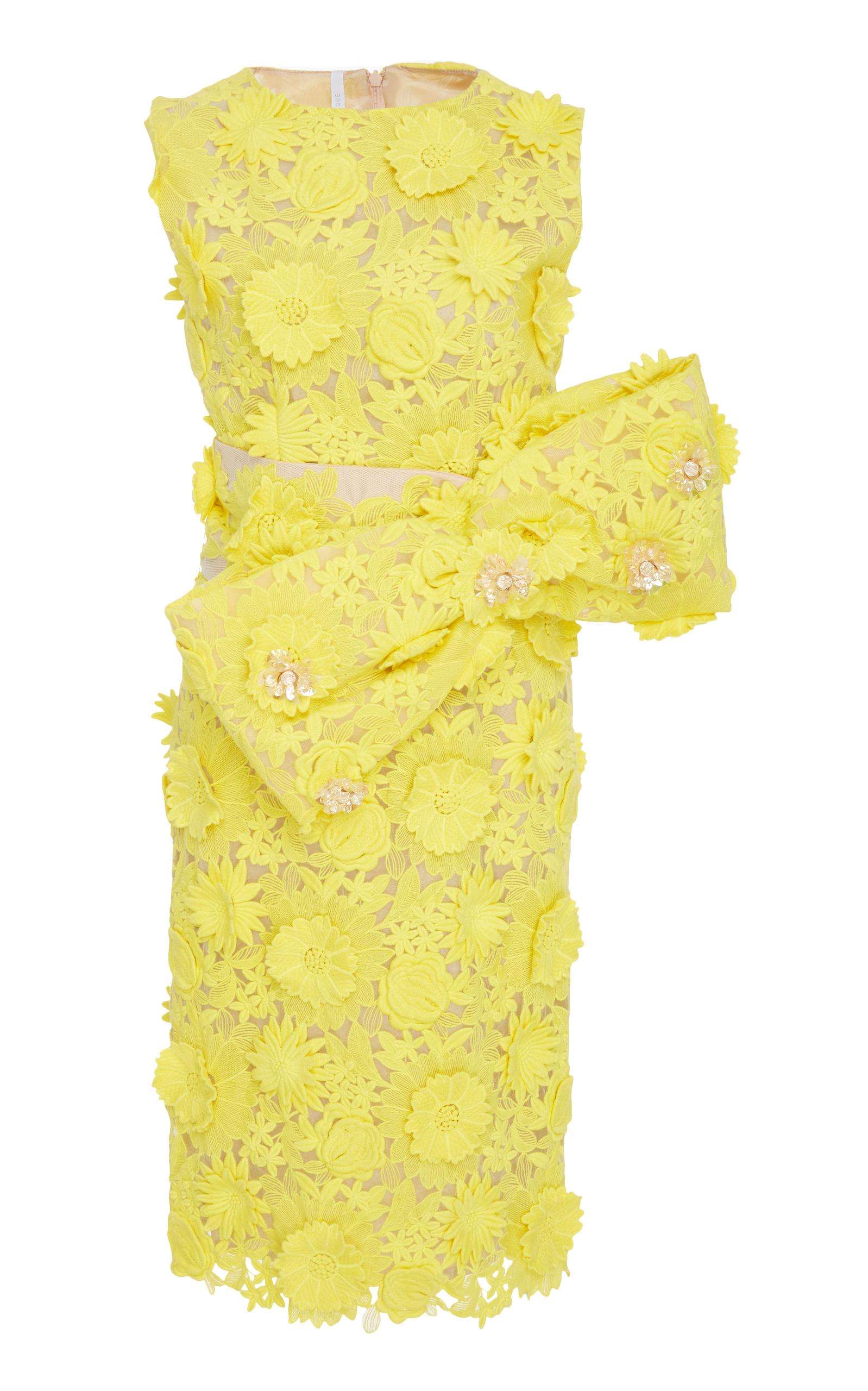 ALCOOLIQUE Bow Benedict Midi Dress in Yellow