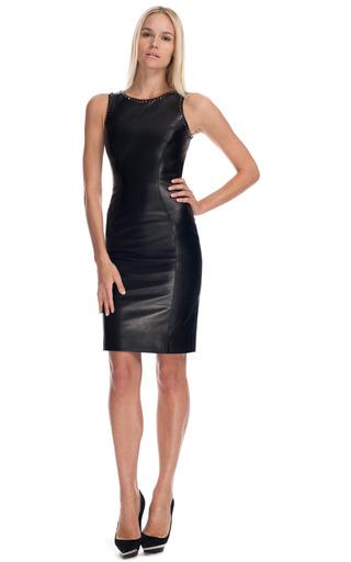Studded Leather Sheath Dress by Versace | Moda Operandi