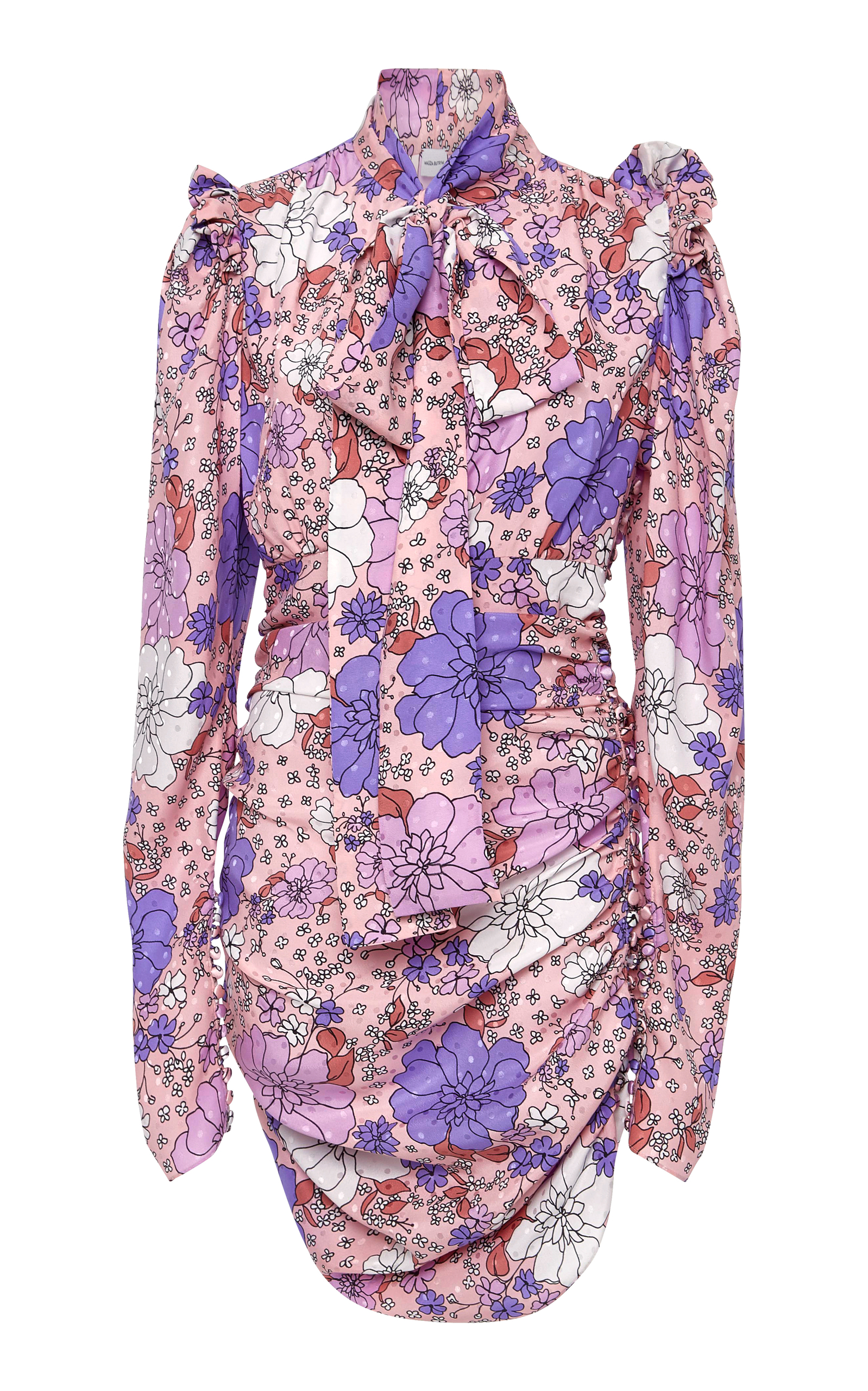 Silk Neck Tie Floral Mini Dress - Pink & Purple Magda Butrym A8ggV31O