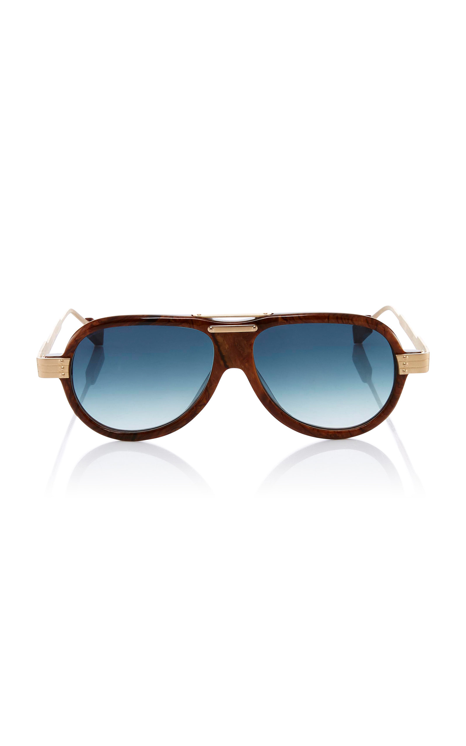 ROSIE ASSOULIN X MORGENTHAL FREDERICS Astro Pop Aviator Sunglasses in Brown