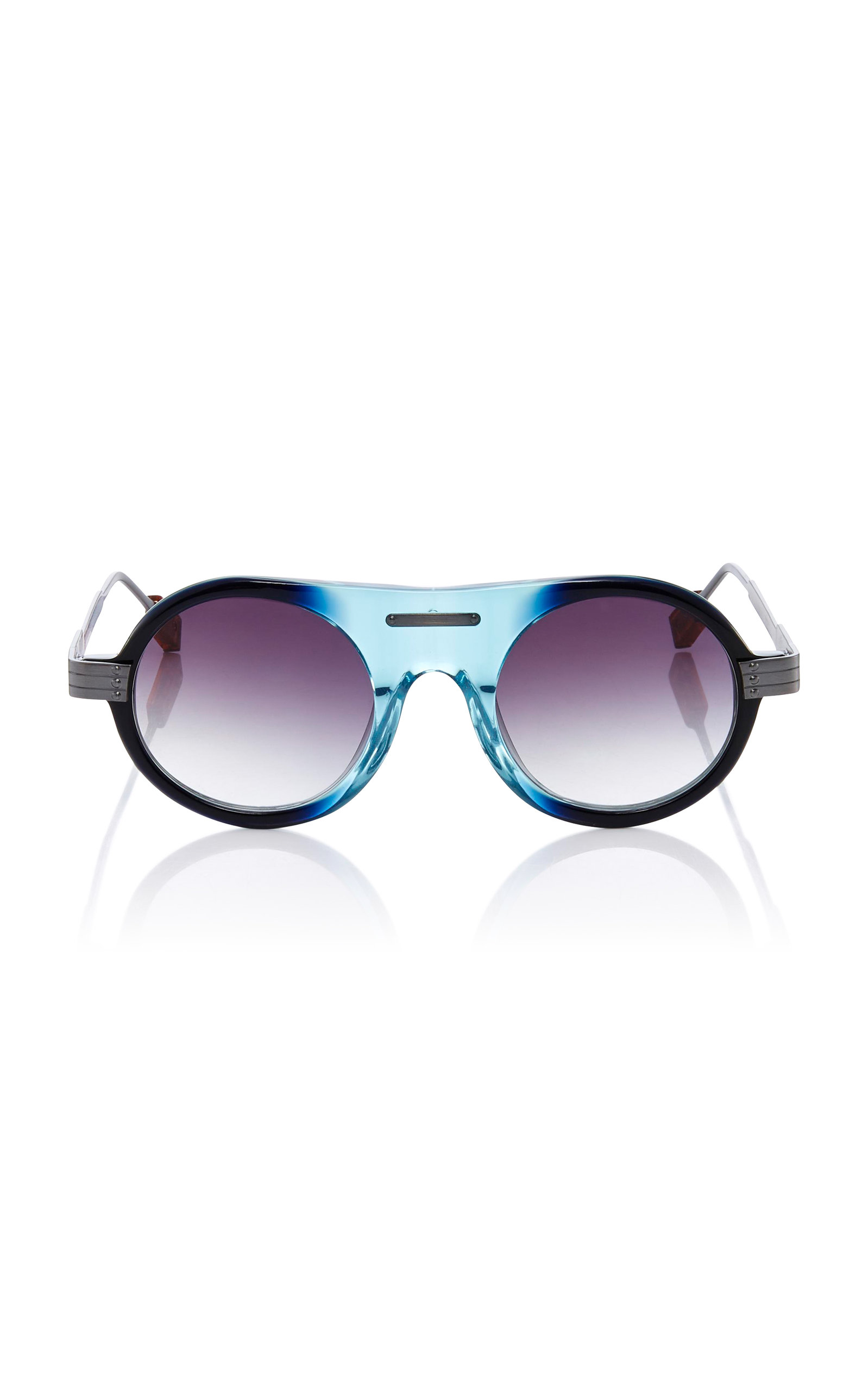 ROSIE ASSOULIN X MORGENTHAL FREDERICS Herbie Round-Frame Sunglasses in Blue