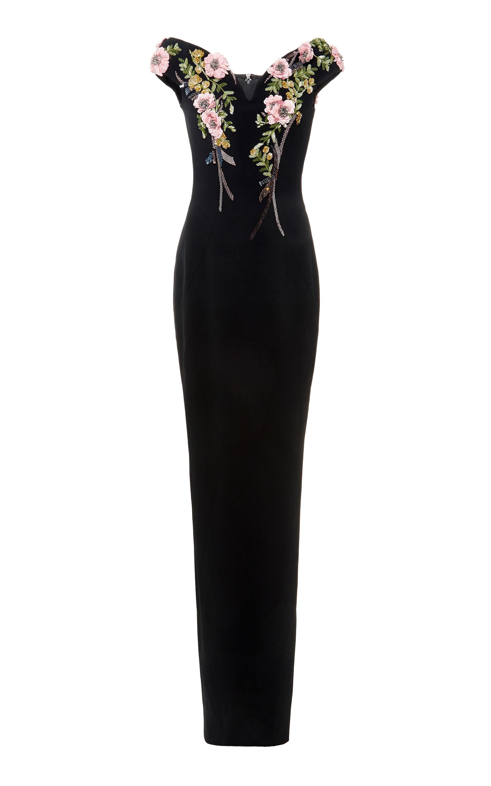 floral en Neck cristal Bateau crepé Pamella Roland bordado de de de Stretch noche vestido con wgPBgOH6qc