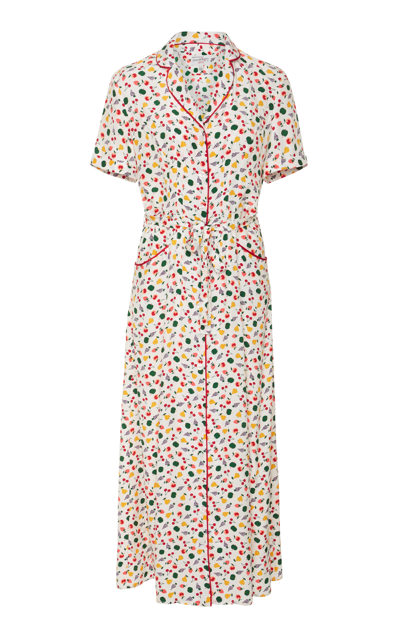 8d7707419bb M O Exclusive Maria Fruit Salad-Print Silk Long Dress by HVN