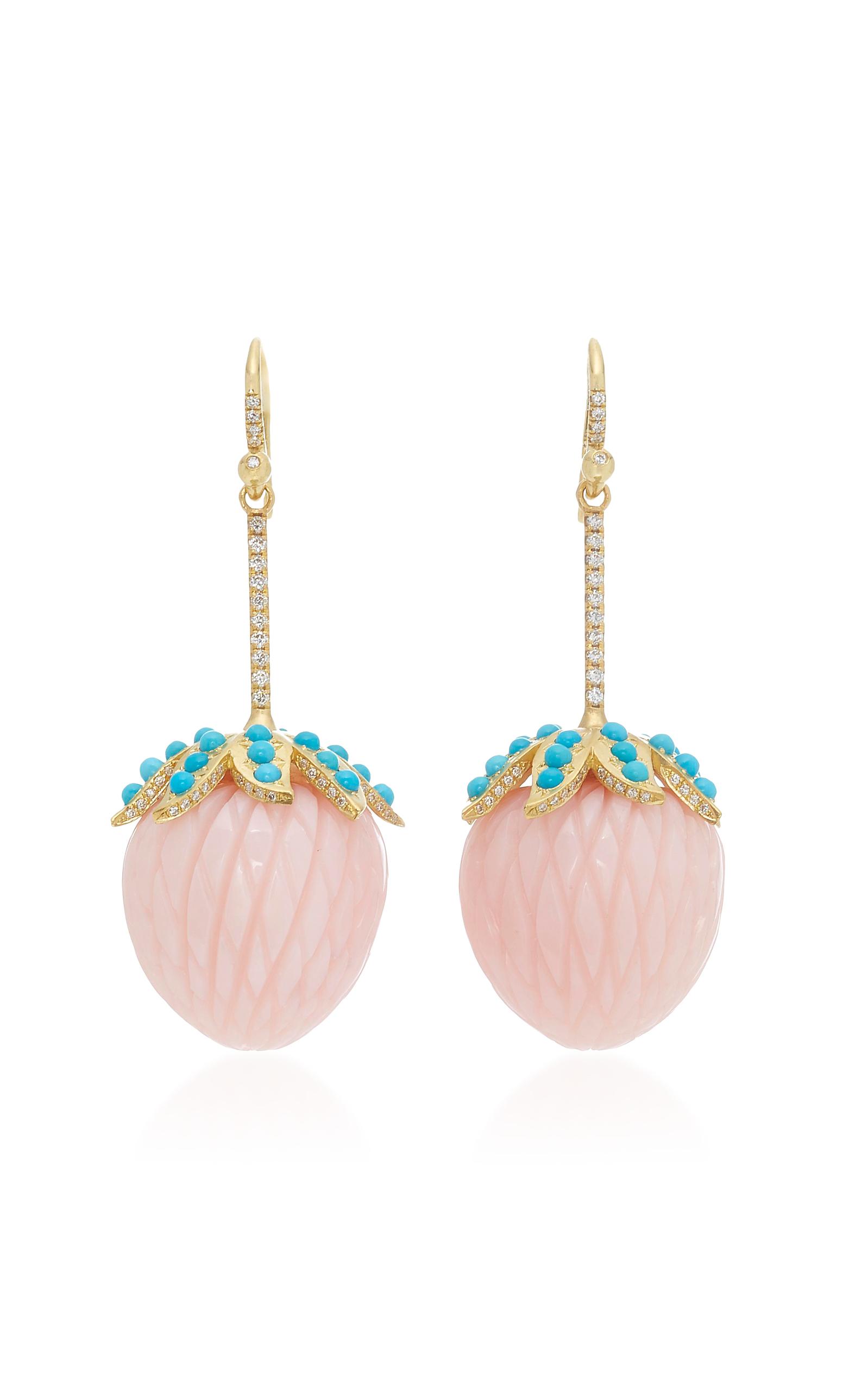 Irene Neuwirth Pink Opal Strawberry Earrings