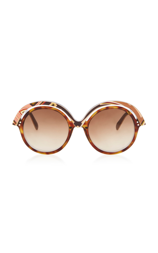 EMILIO PUCCI SUNGLASSES | Emilio Pucci Sunglasses Oversized Printed Acetate Round-Frame Sunglasses | Goxip