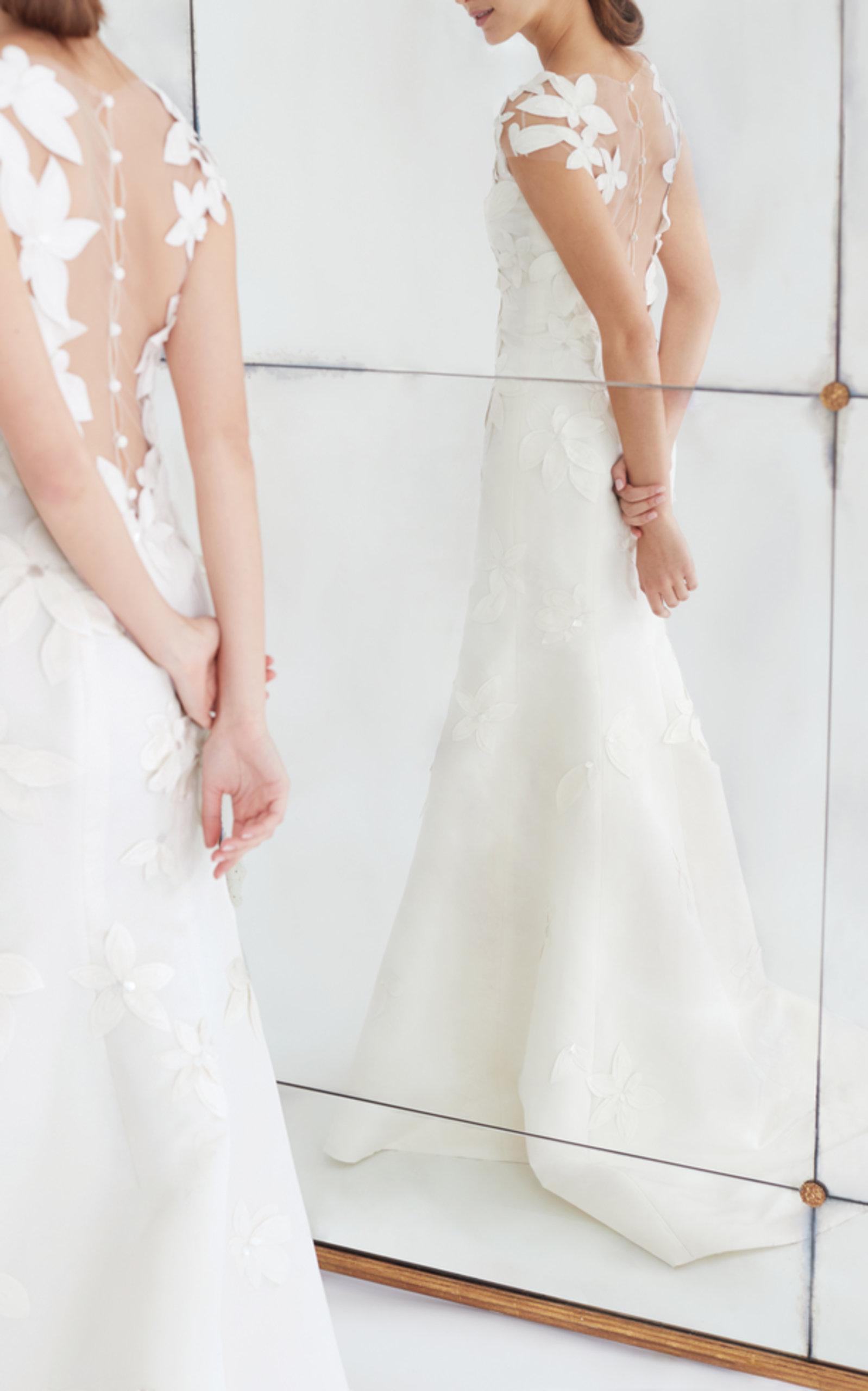 Carolina Herrera Wedding Dress.Gretchen Floral Appliqued Silk Faille Gown