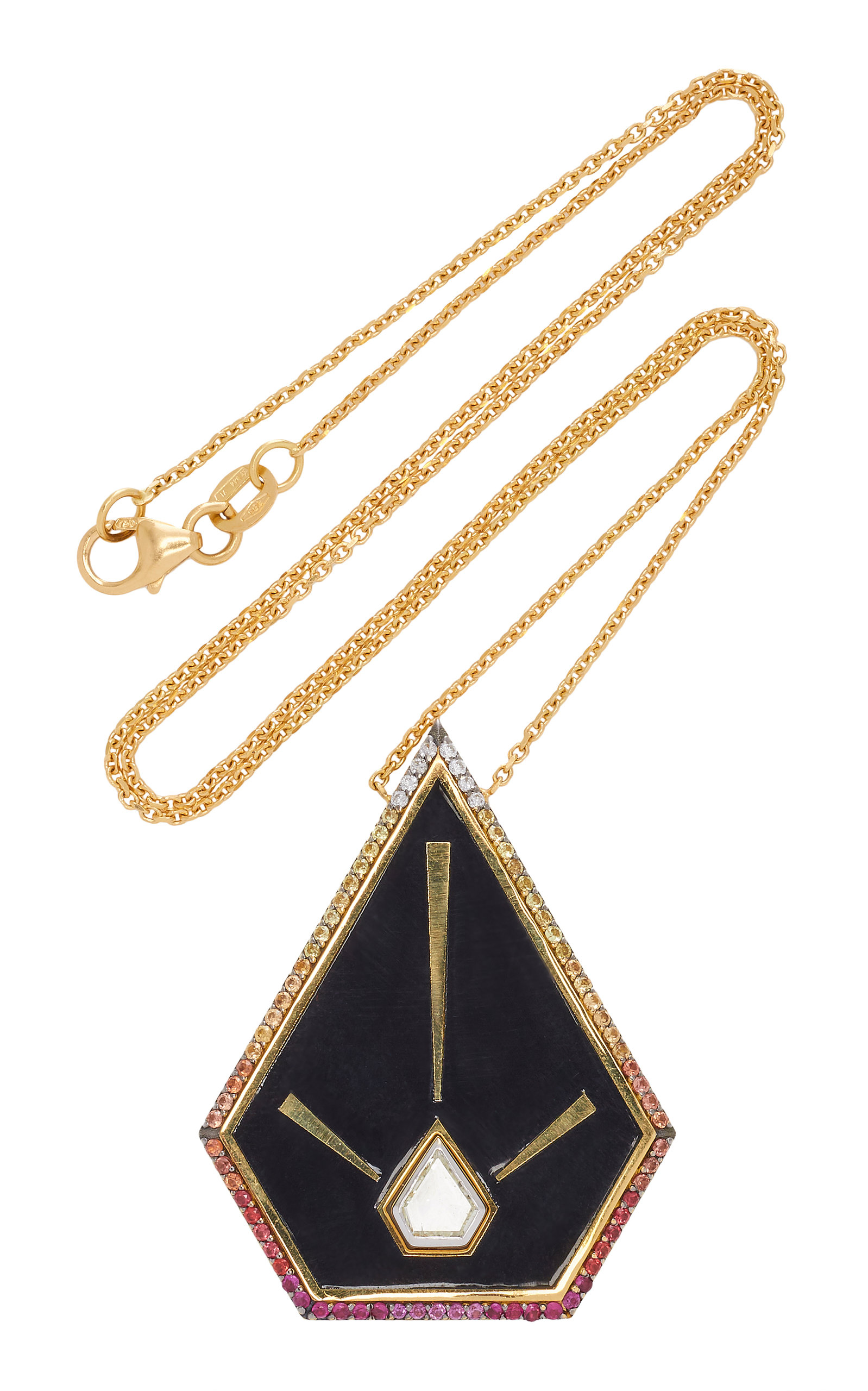 ELE KARELA One-Of-A-Kind Blaze Pyramid Pendant in Gold