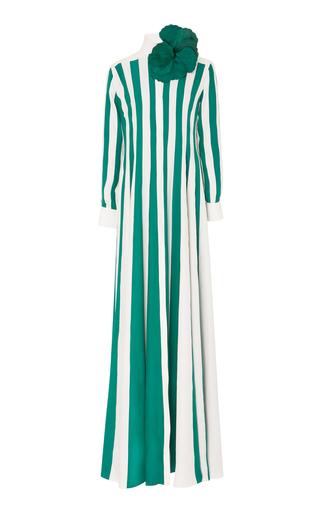 ESME VIE   Esme Vie M'O Exclusive Venezia Striped Silk Dress with Brooch   Goxip