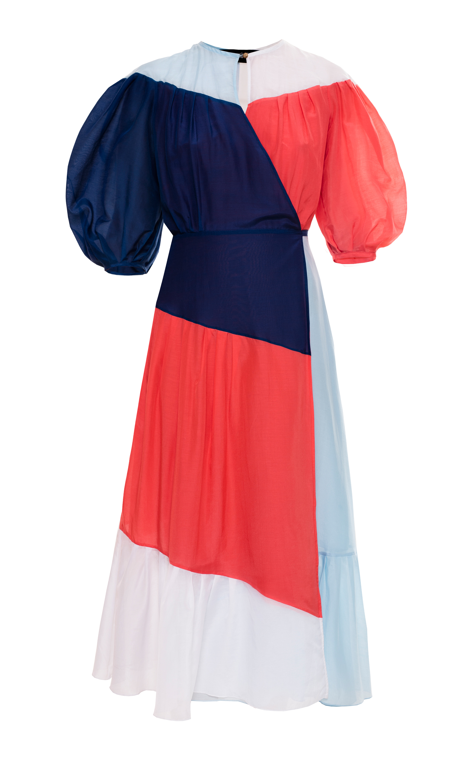 Colour-block puff-sleeved cotton-blend wrap dress