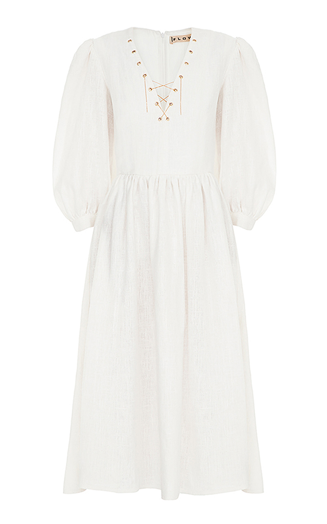 FLOW THE LABEL Puffy Sleeve Midi Dress in White