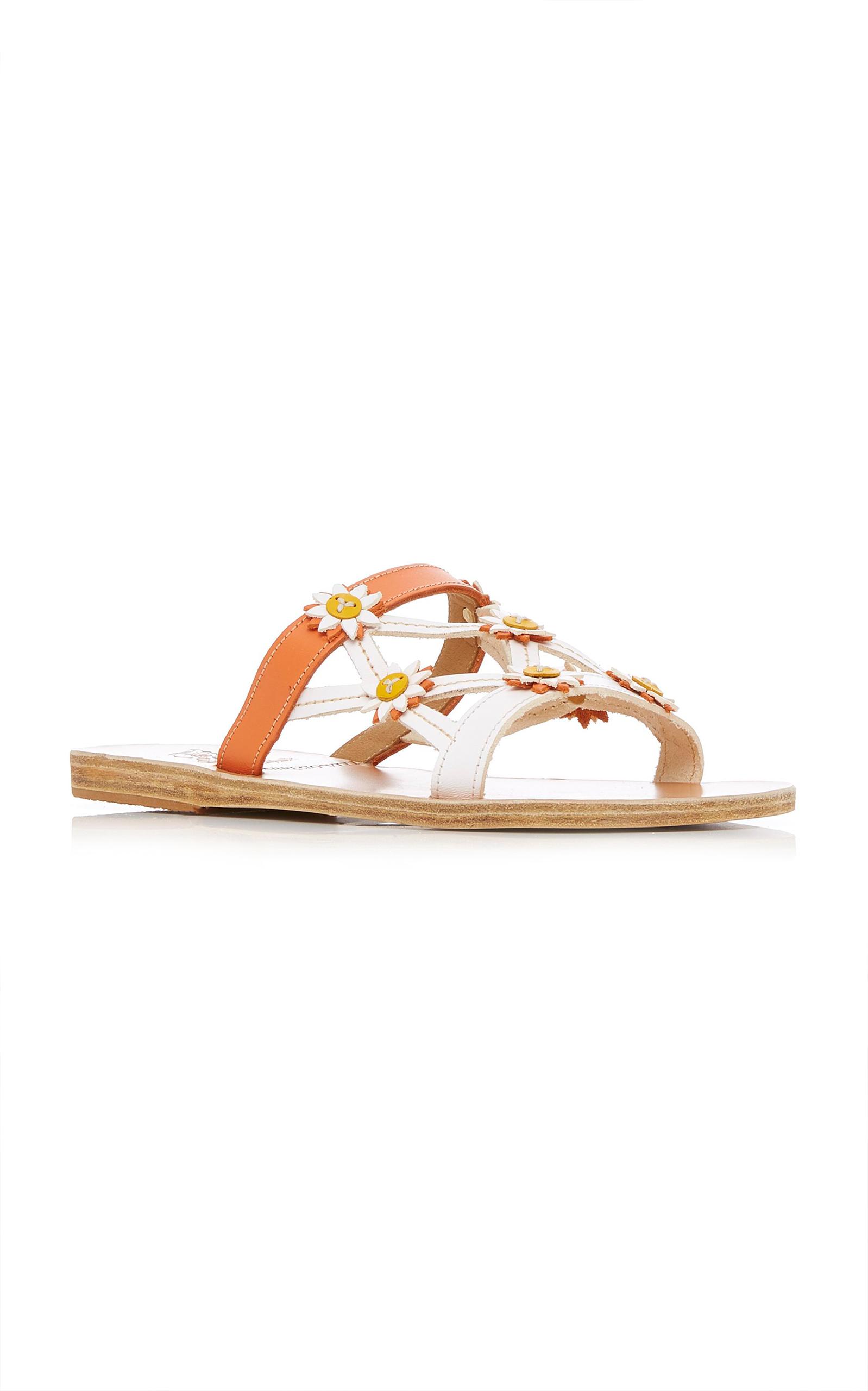 Peonia Floral-Embellished Leather Sandals Ancient Greek Sandals OEkRjQoLS