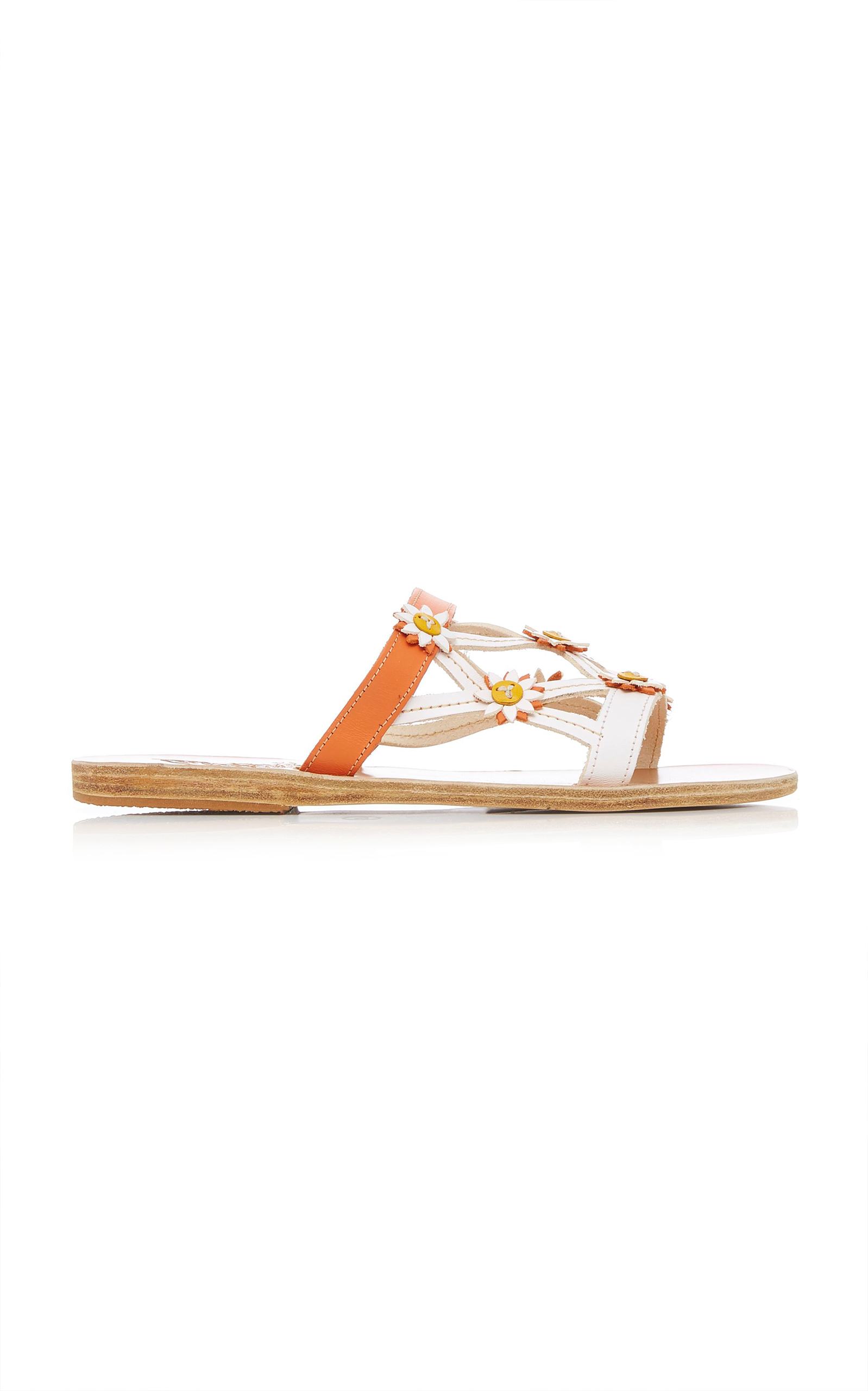Peonia Floral-Embellished Leather Sandals Ancient Greek Sandals roELiGTXA