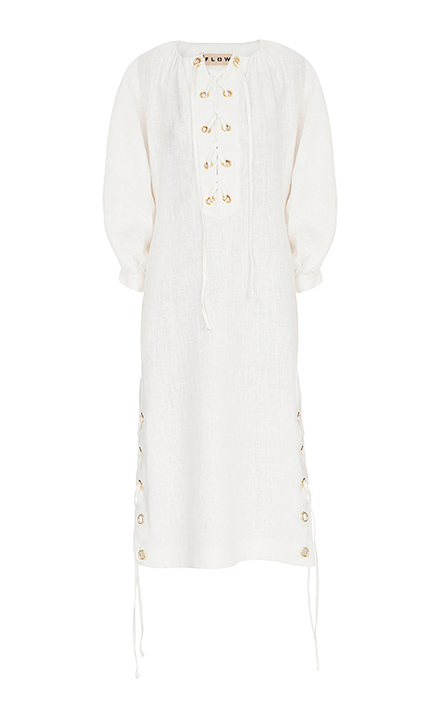 FLOW THE LABEL Lace Up Linen Dress in White