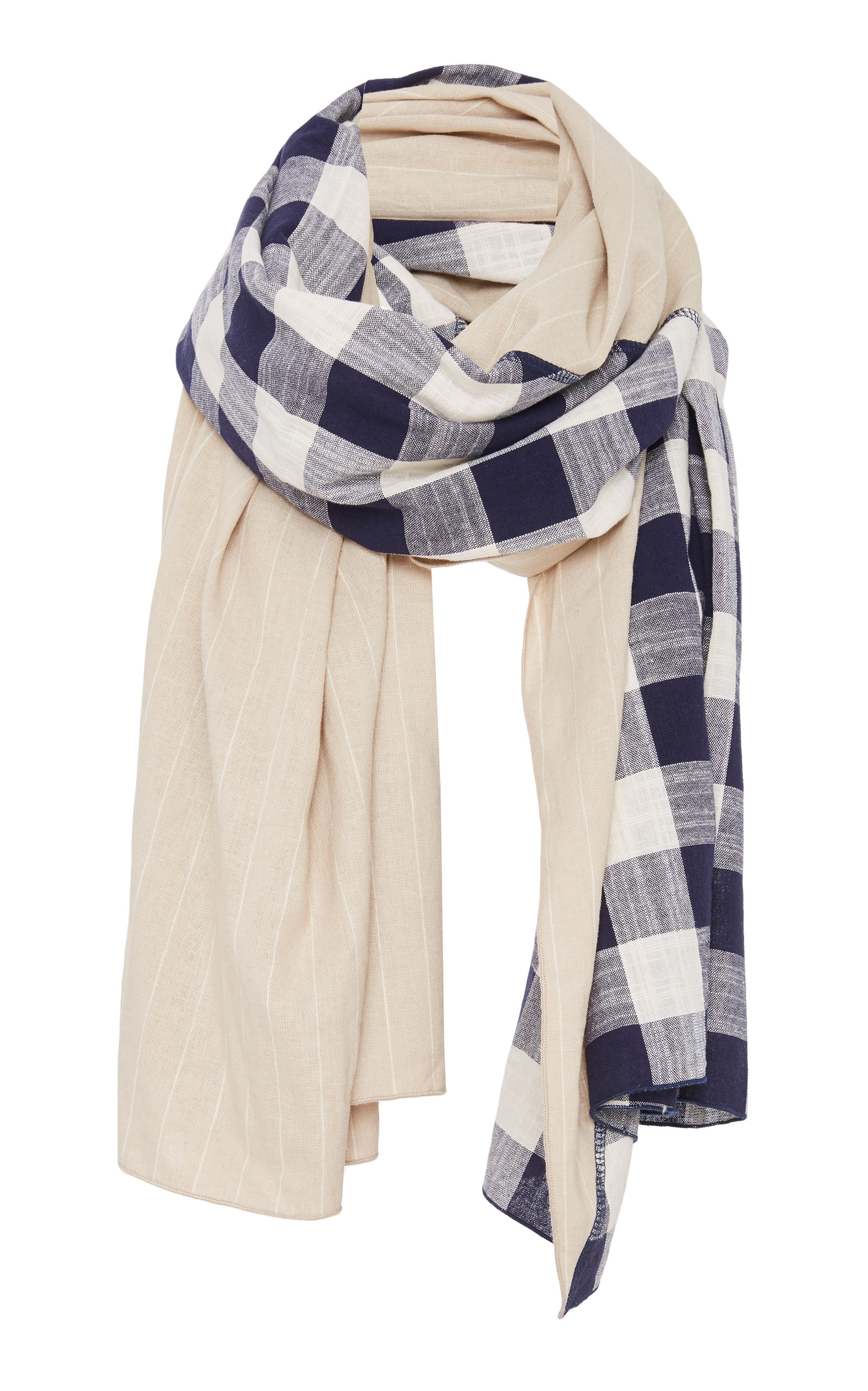 DONNI CHARM DIAGONAL PANELED CHECKED COTTON AND LINEN SCARF