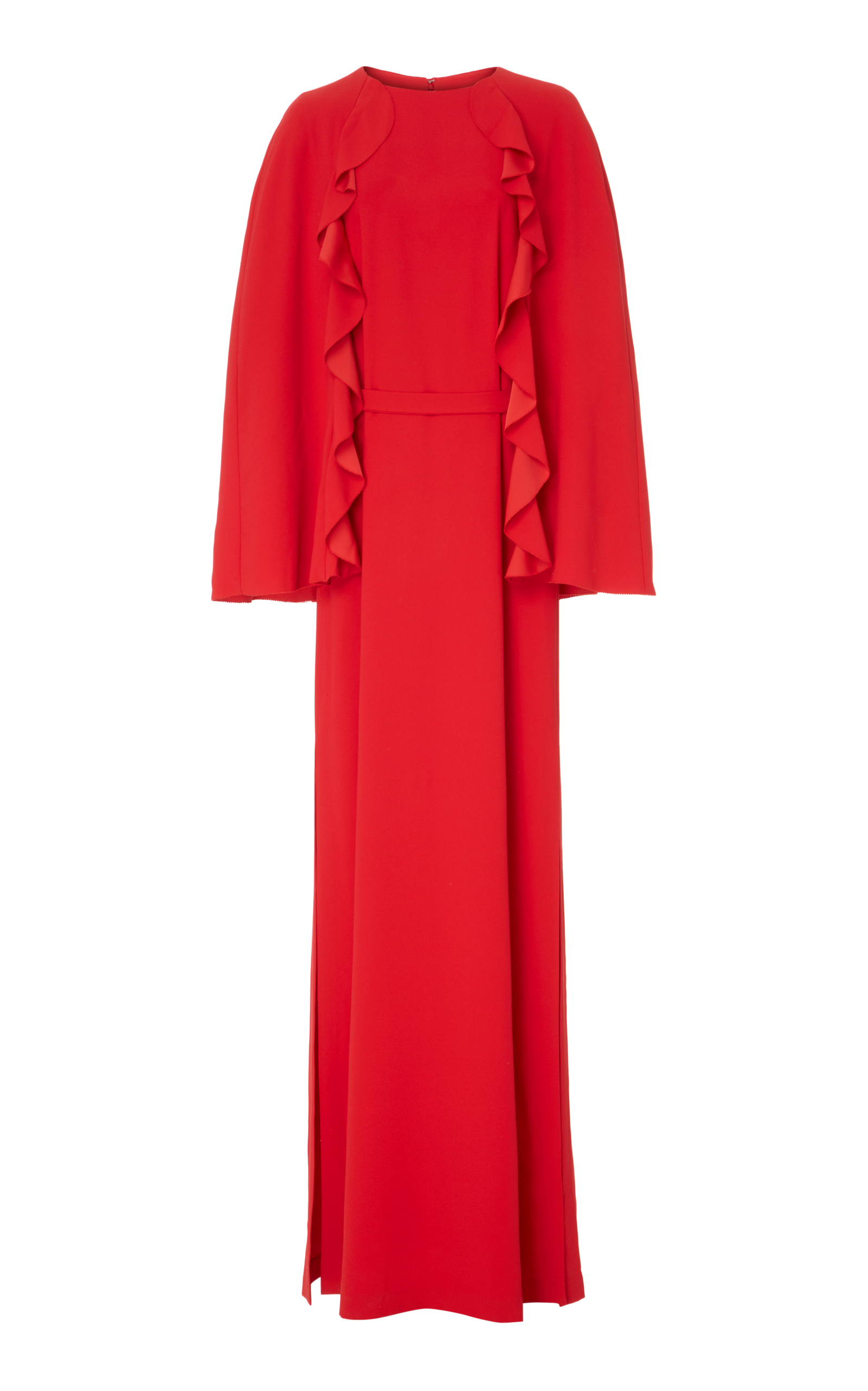 CAPE-EFFECT RUFFLE TRIMMED MAXI DRESS