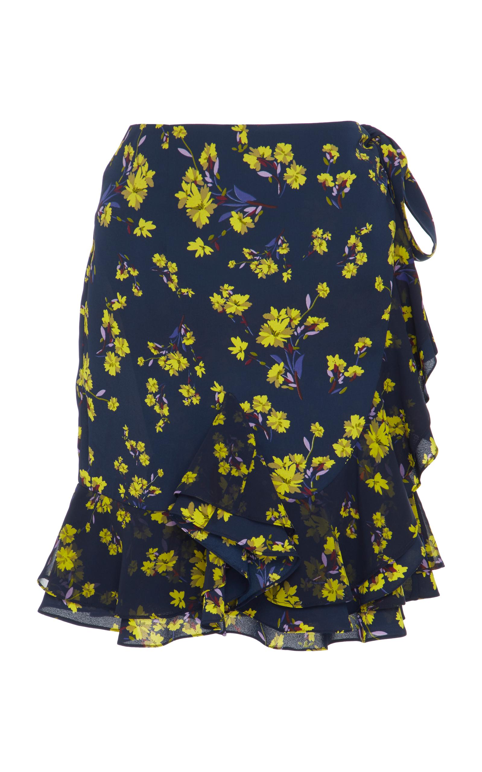c3c2b5abf8 Floral Printed Ruffled Wrap Mini Skirt by GOEN.J   Moda Operandi