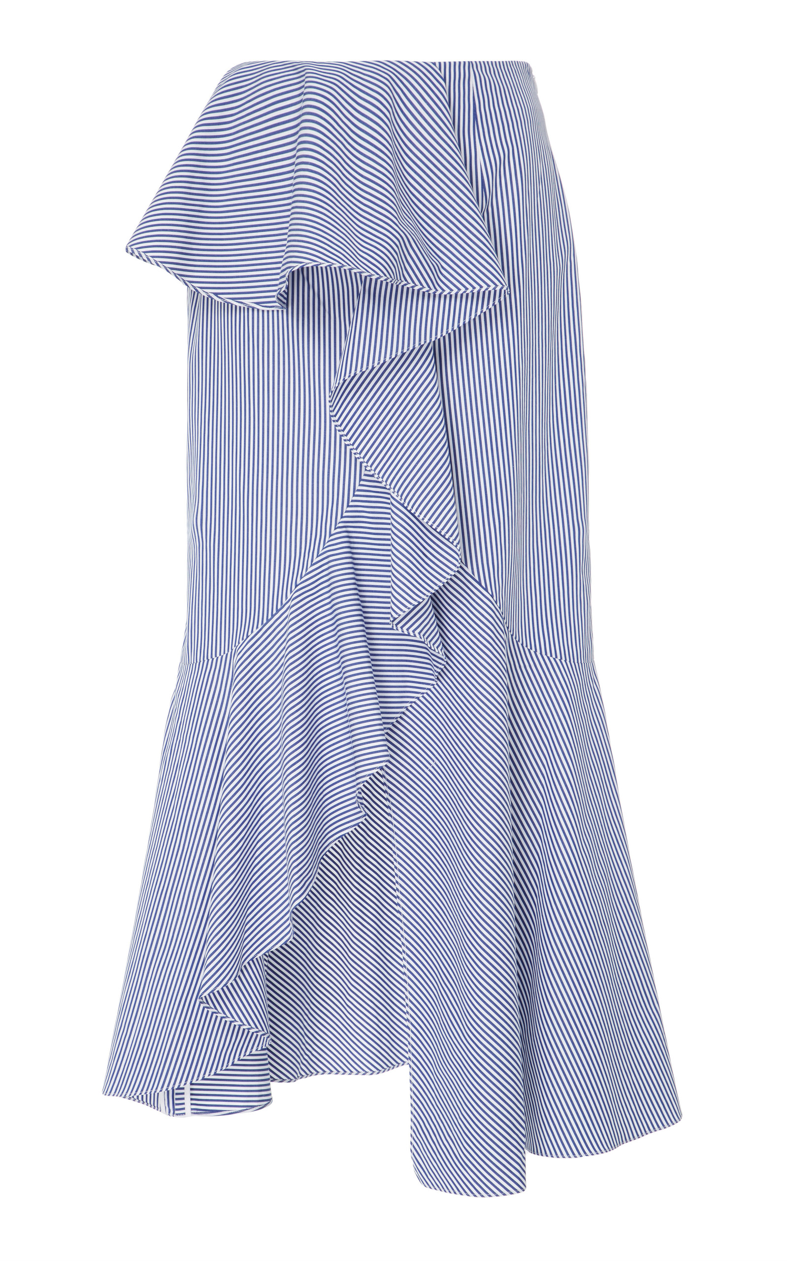GOEN J Ruffled Striped Cotton-Poplin Midi Skirt in Blue