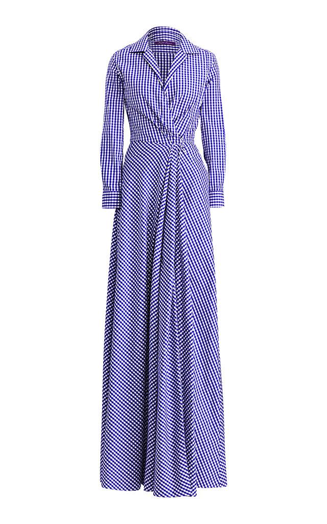 Ralph Laurenrivera Gingham Evening Dress Close Loading