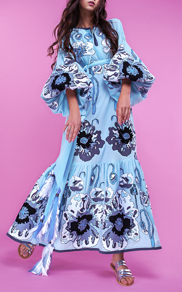 Yuliya Magdych Poppies Embroidered Maxi Dress $2,410 ($1,205 Deposit)