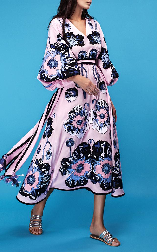 Yuliya Magdych Poppies Embroidered Midi Dress $2,420 ($1,210 Deposit)