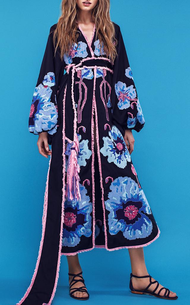 Yuliya Magdych Poppies Embroidered Midi Caftan $1,705 ($852.50 Deposit)