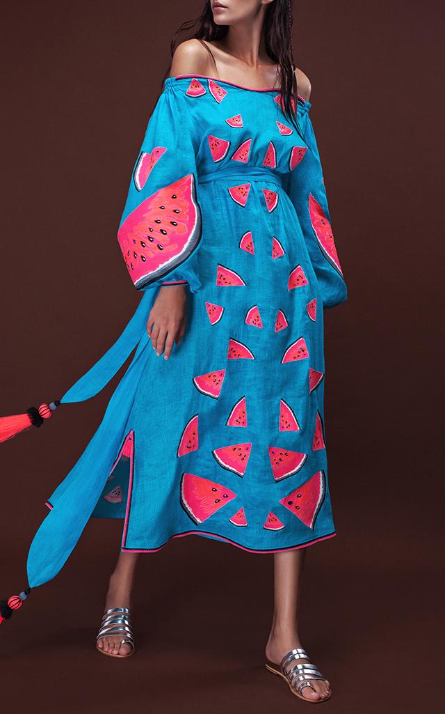 Yuliya Magdych Off The Shoulder Watermelon Dress $1,290 ($645 Deposit)